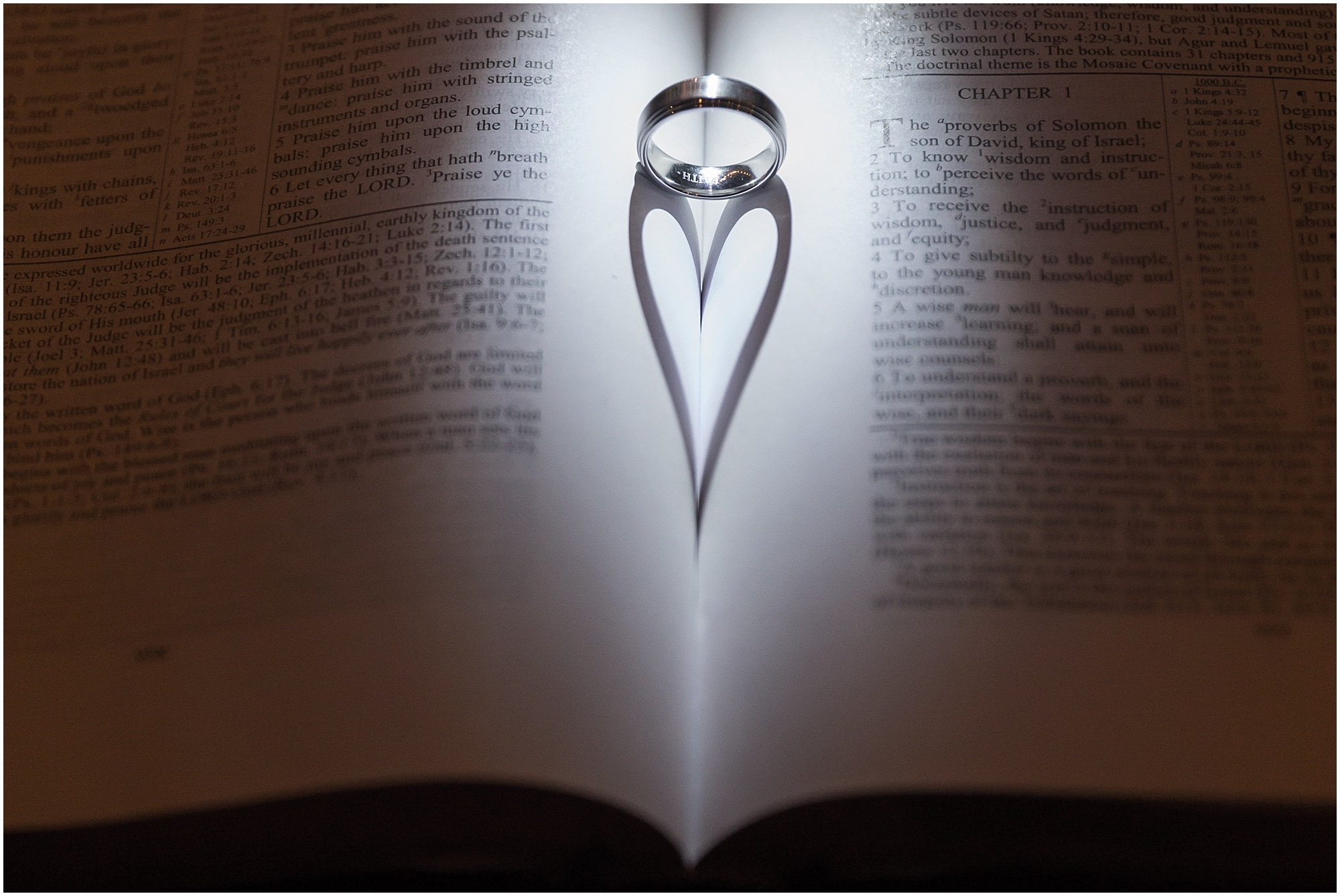 Wedding ring casts a heart-shaped shadow in Bible - Jason & Melaina Photography