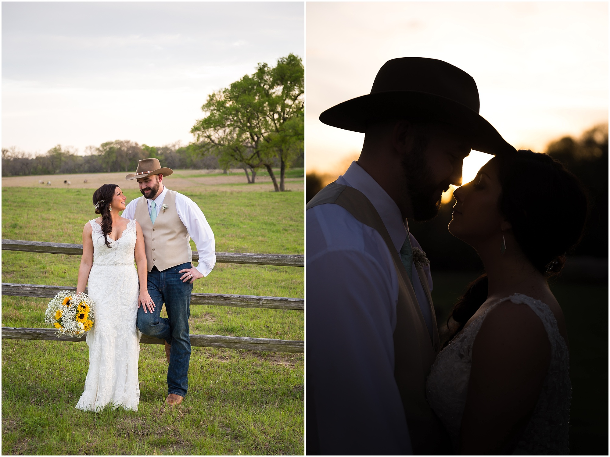 Sunset portraits with the bride and groom - Reception at Peacock River Ranch in Gatesville, Texas - Jason & Melaina Photography