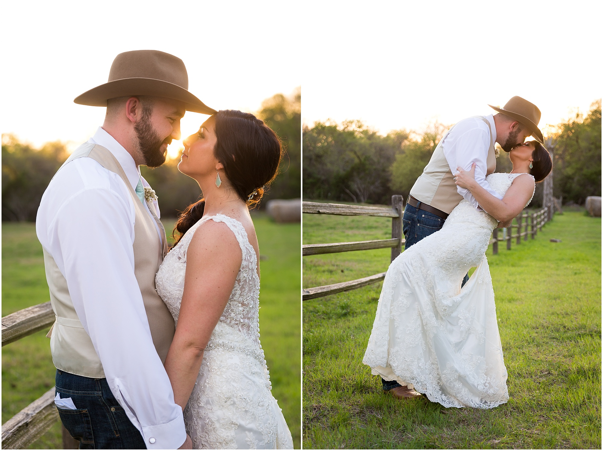 Groom kisses his bride with sunset behind them at Peacock River Ranch in Gatesville, Texas - Jason & Melaina Photography