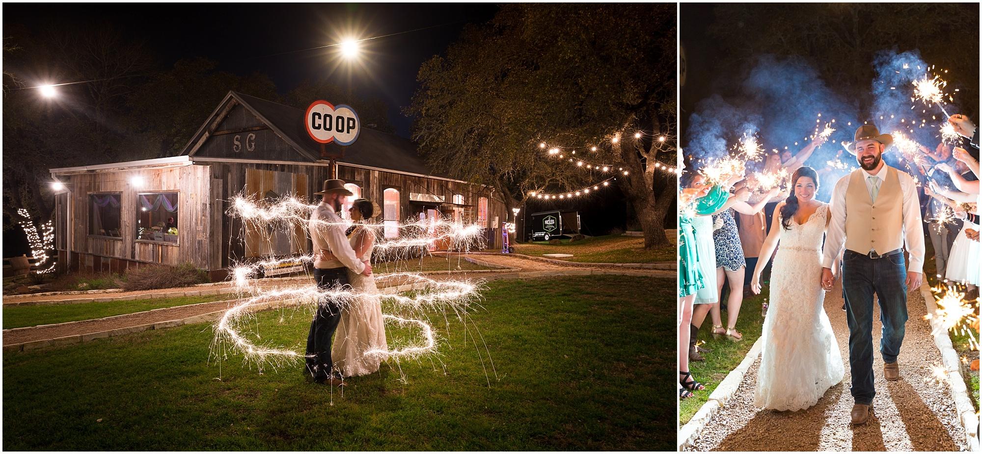 Bride and groom hold one another surrounded by sparklers - Jason & Melaina Photography - www.jasonandmelaina.com