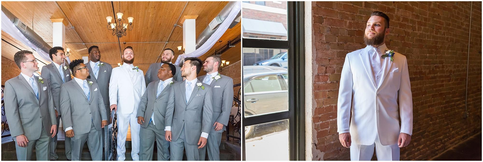 Groom and his groomsmen in downtown Waco - www.jasonandmelaina.com