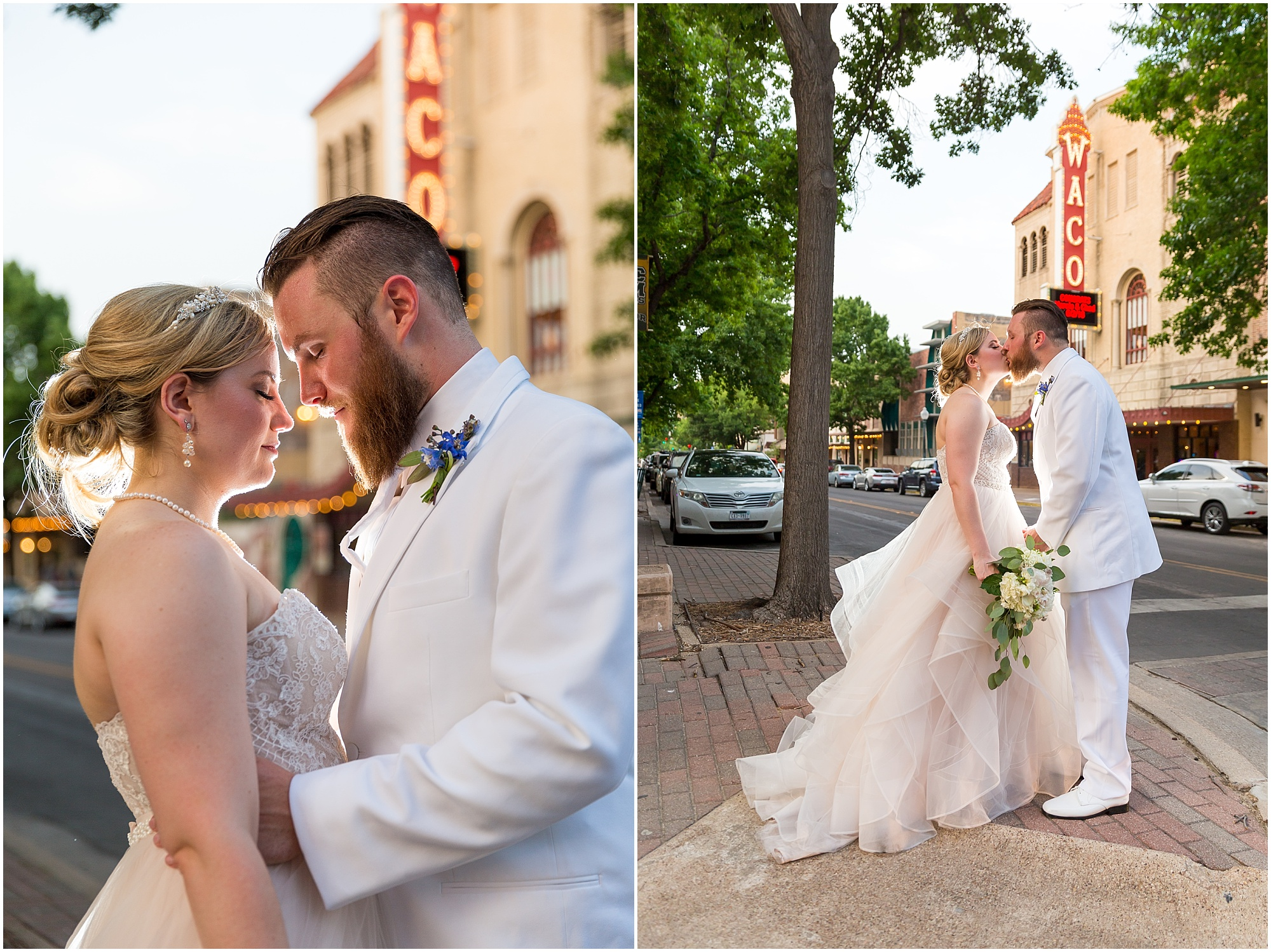 Bride and groom pose downtown near Waco Hippodrome during their warehouse wedding in Waco, TX - www.jasonandmelaina.com
