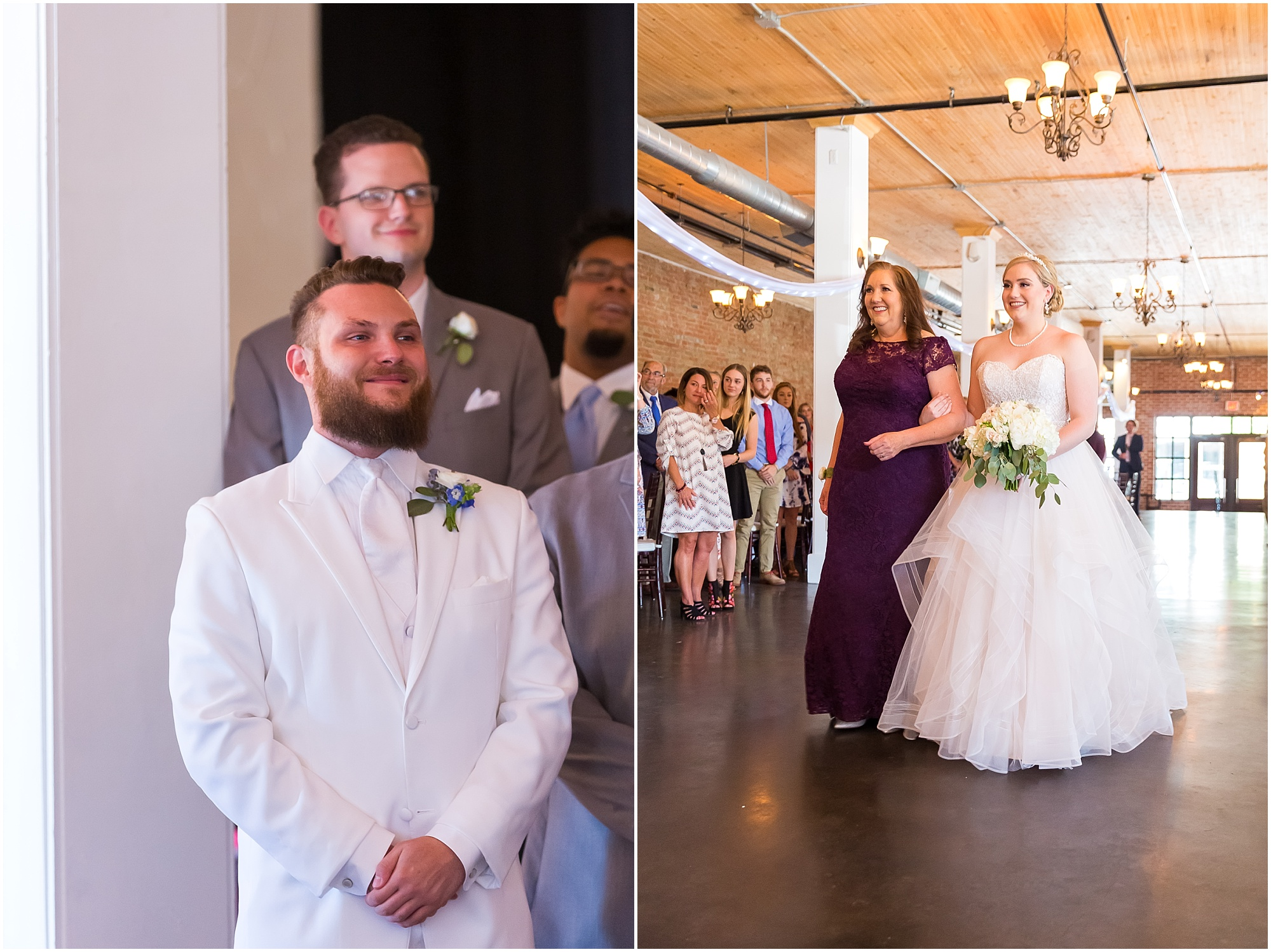 Groom smiles at bride coming down the aisle, downtown warehouse wedding in Waco, Texas - www.jasonandmelaina.com