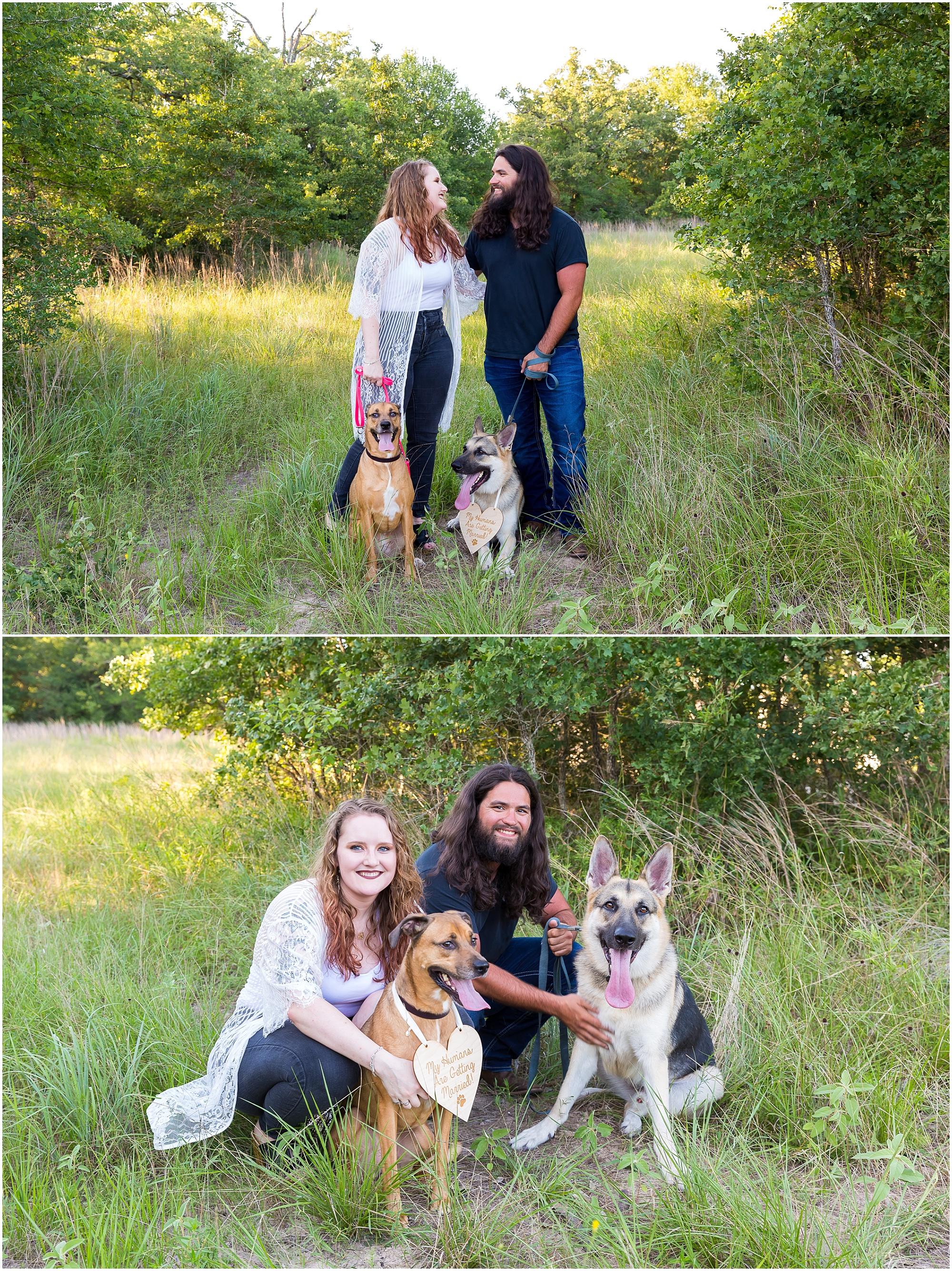 An engagement session with dogs in College Station, Texas - Jason & Melaina Photography - www.jasonandmelaina.com