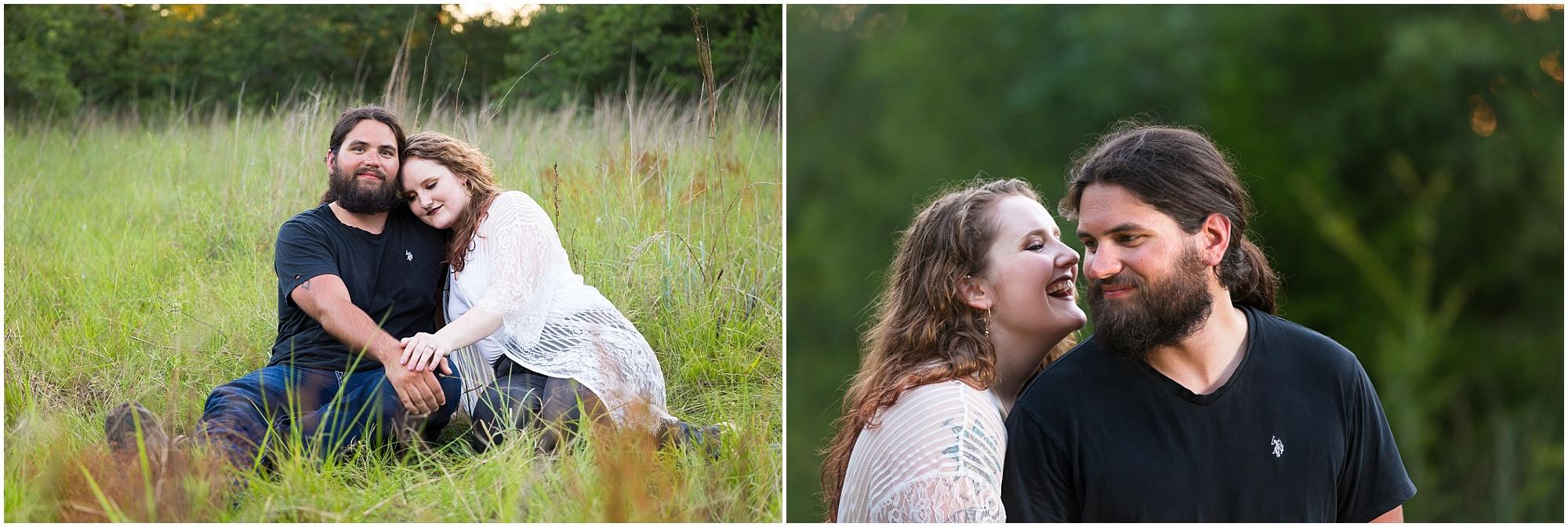 A girl rests her head on her fiance's shoulders during their engagement portrait session - Jason & Melaina Photography - www.jasonandmelaina.com