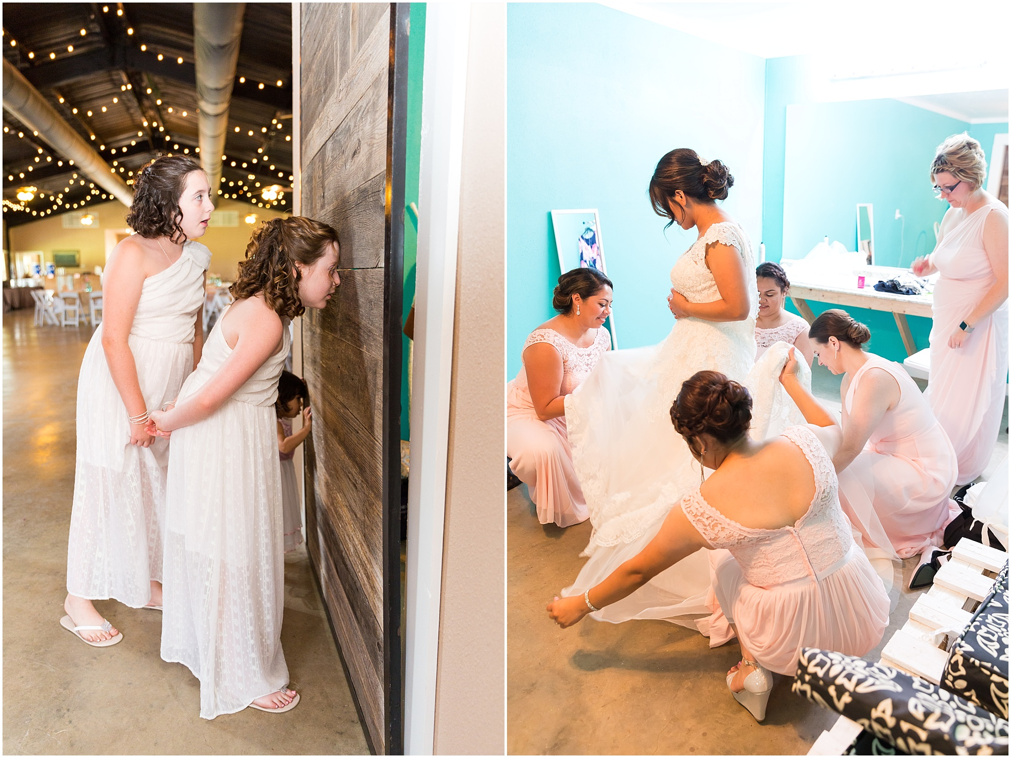 Bride getting in her dress with the help of her bridesmaids, rustic wedding in Belton, Texas - Jason & Melaina Photography - www.jasonandmelaina.com