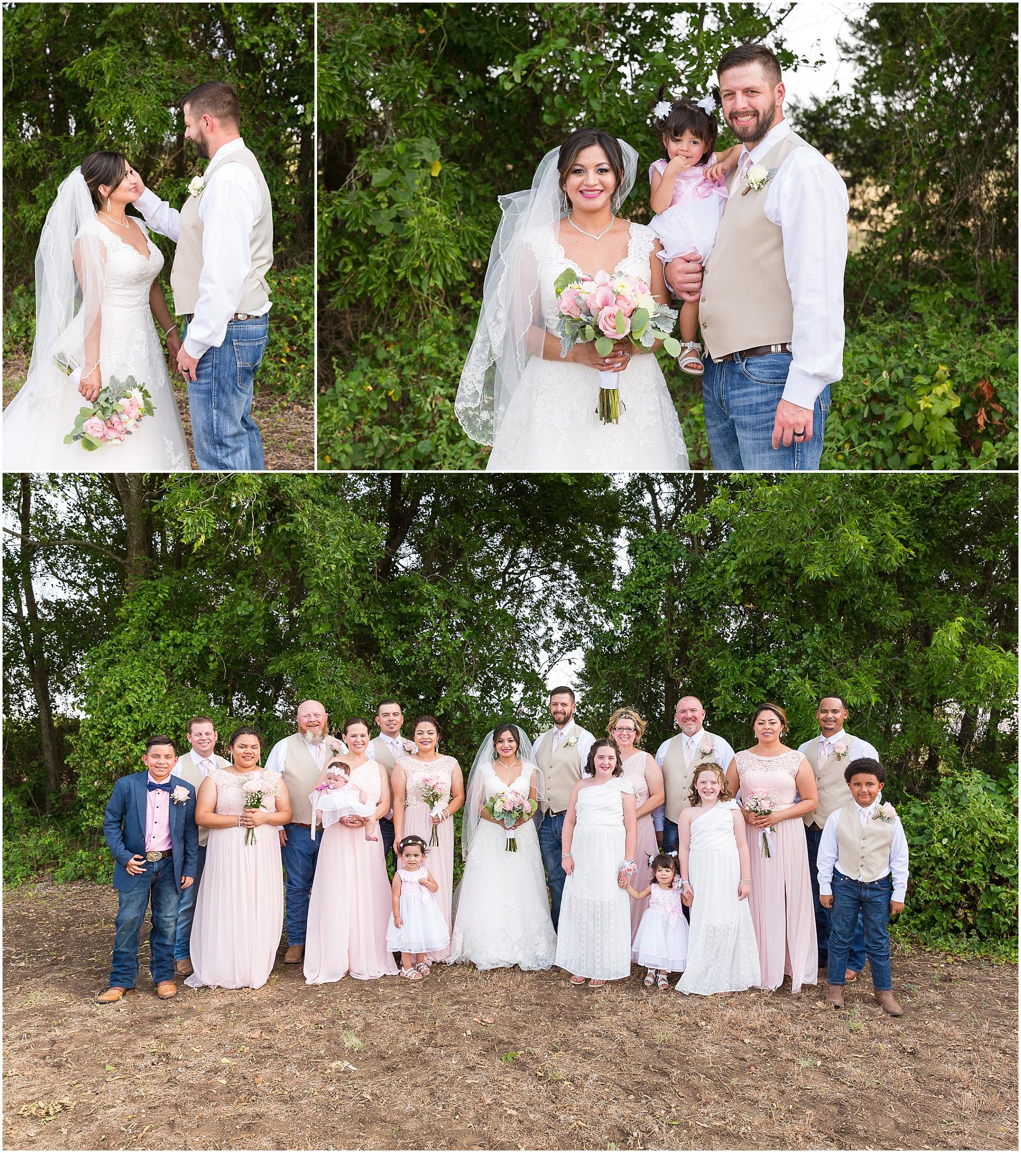 Pink and tan bridal party colors at a rustic wedding in Texas - Jason & Melaina Photography - www.jasonandmelaina.com