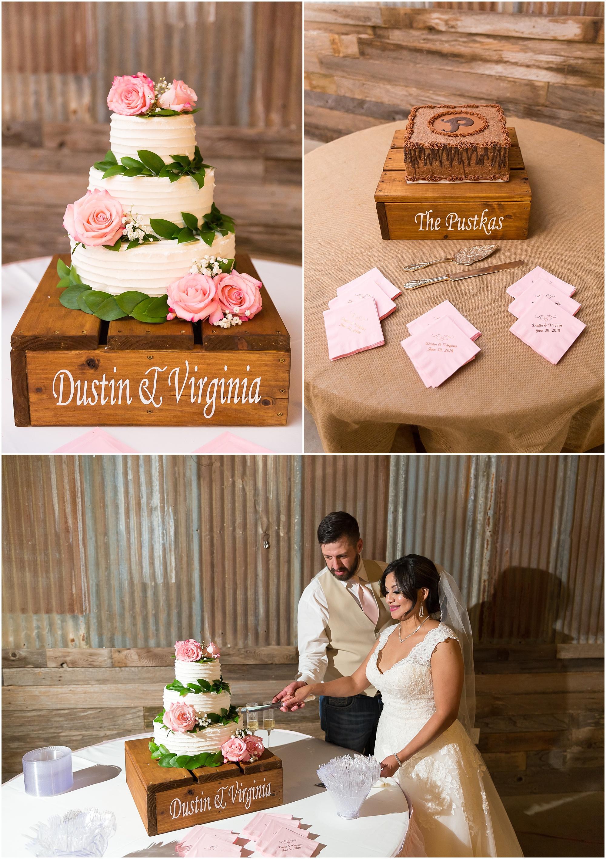 White buttercream wedding cake with pink roses and greenery - Jason & Melaina Photography - www.jasonandmelaina.com