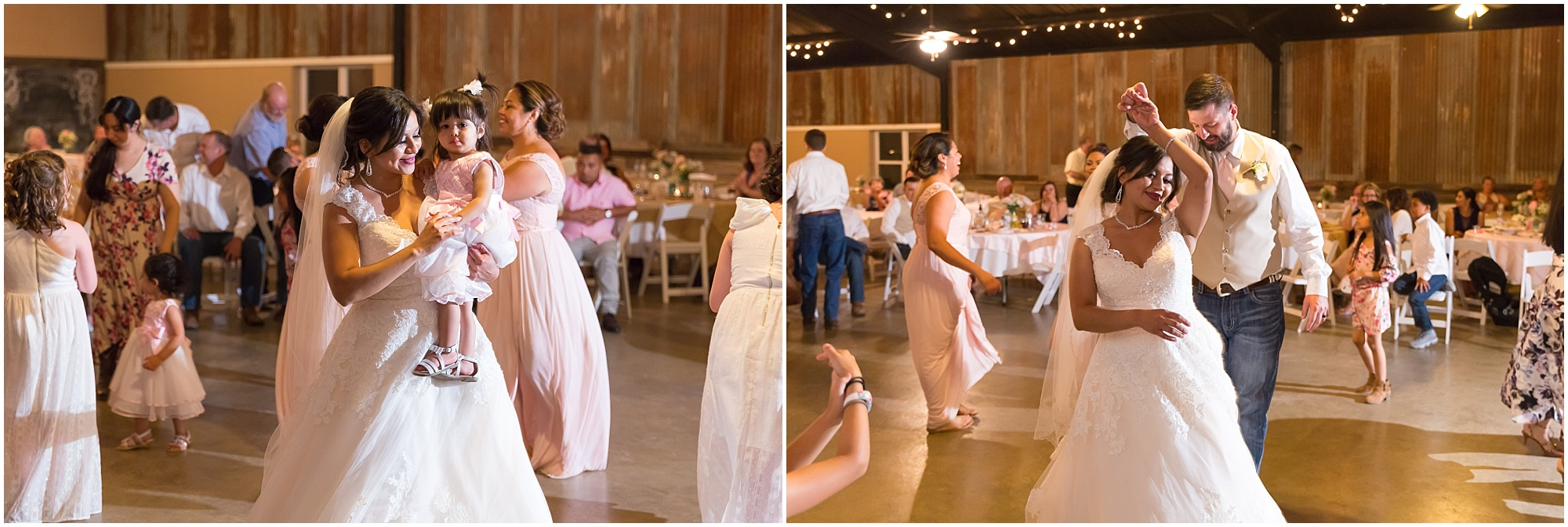 A bride and groom dance at their wedding reception at Rustic Acres in Belton, Texas - Rustic wedding at Rustic Acres in Belton, Texas - Jason & Melaina Photography - www.jasonandmelaina.com