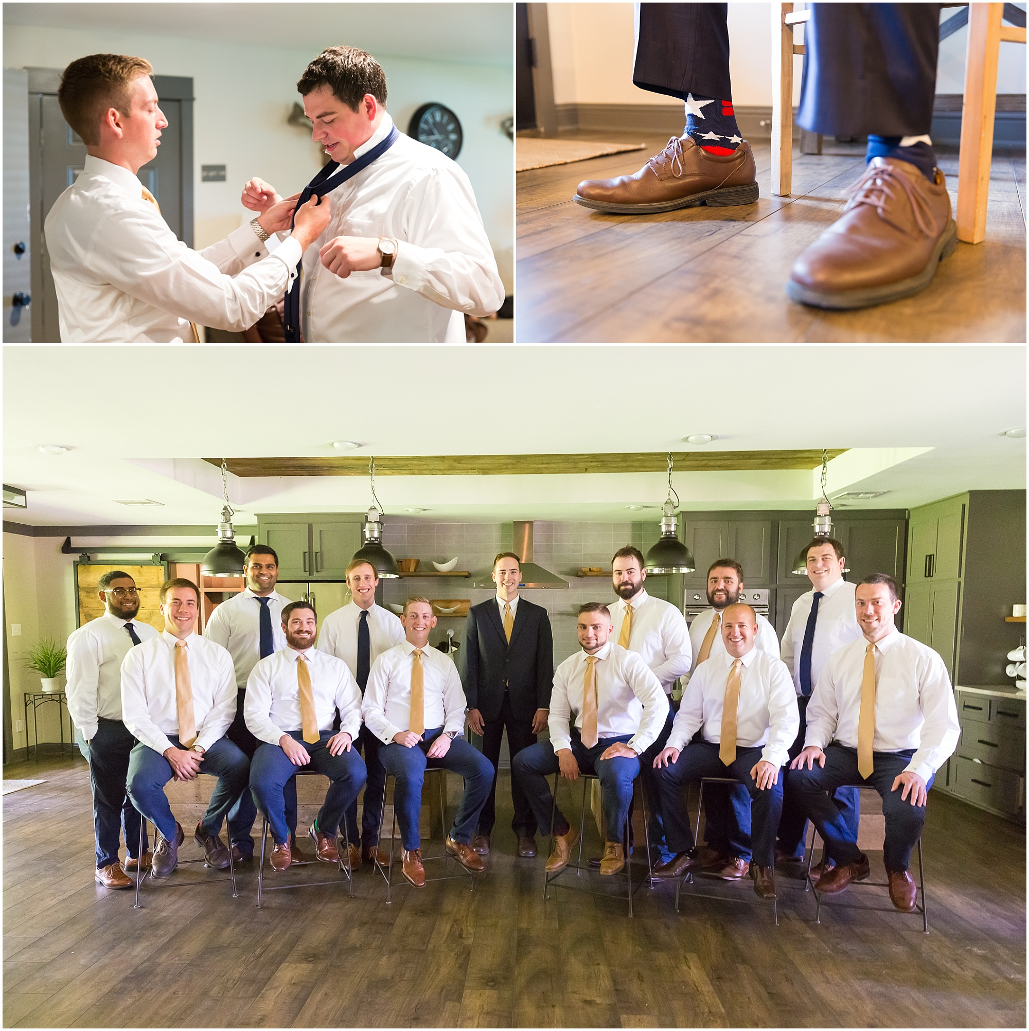 A groom and his groomsmen hang out in a Fixer Upper Airbnb for his summer wedding in Waco, Texas - Jason & Melaina Photography - www.jasonandmelaina.com