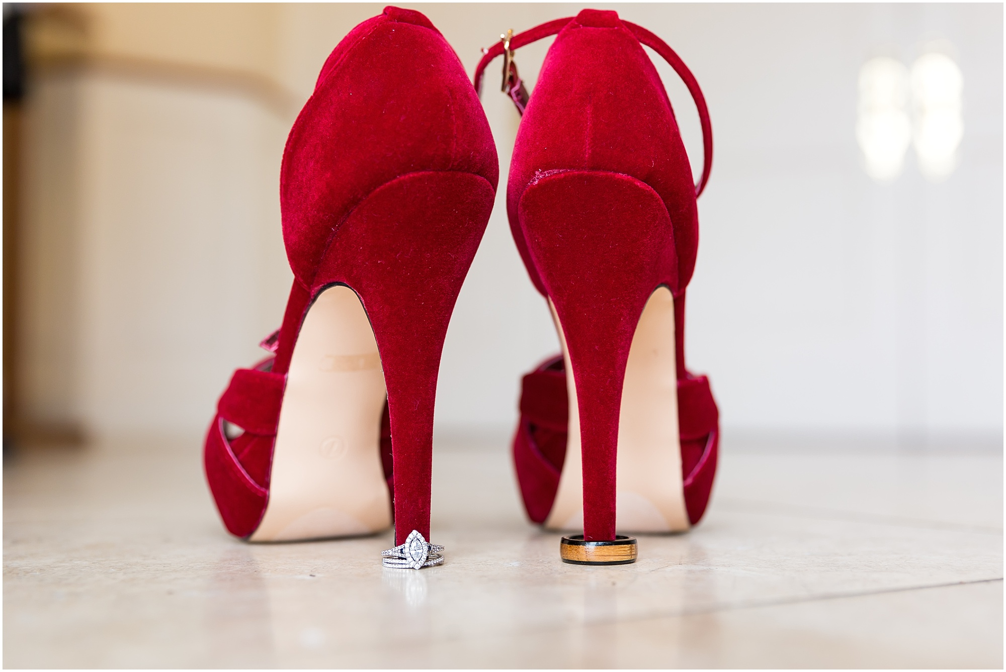 Red velvet bridal shoes - Fall wedding in Waco, TX - Jason & Melaina Photography - http://jasonandmelaina.com