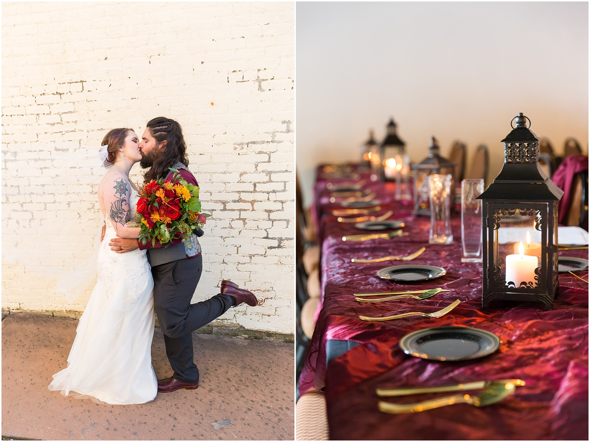 Groom kicks up his foot while kissing bride - Fall wedding in Hillsboro, TX - Jason & Melaina Photography - http://jasonandmelaina.com