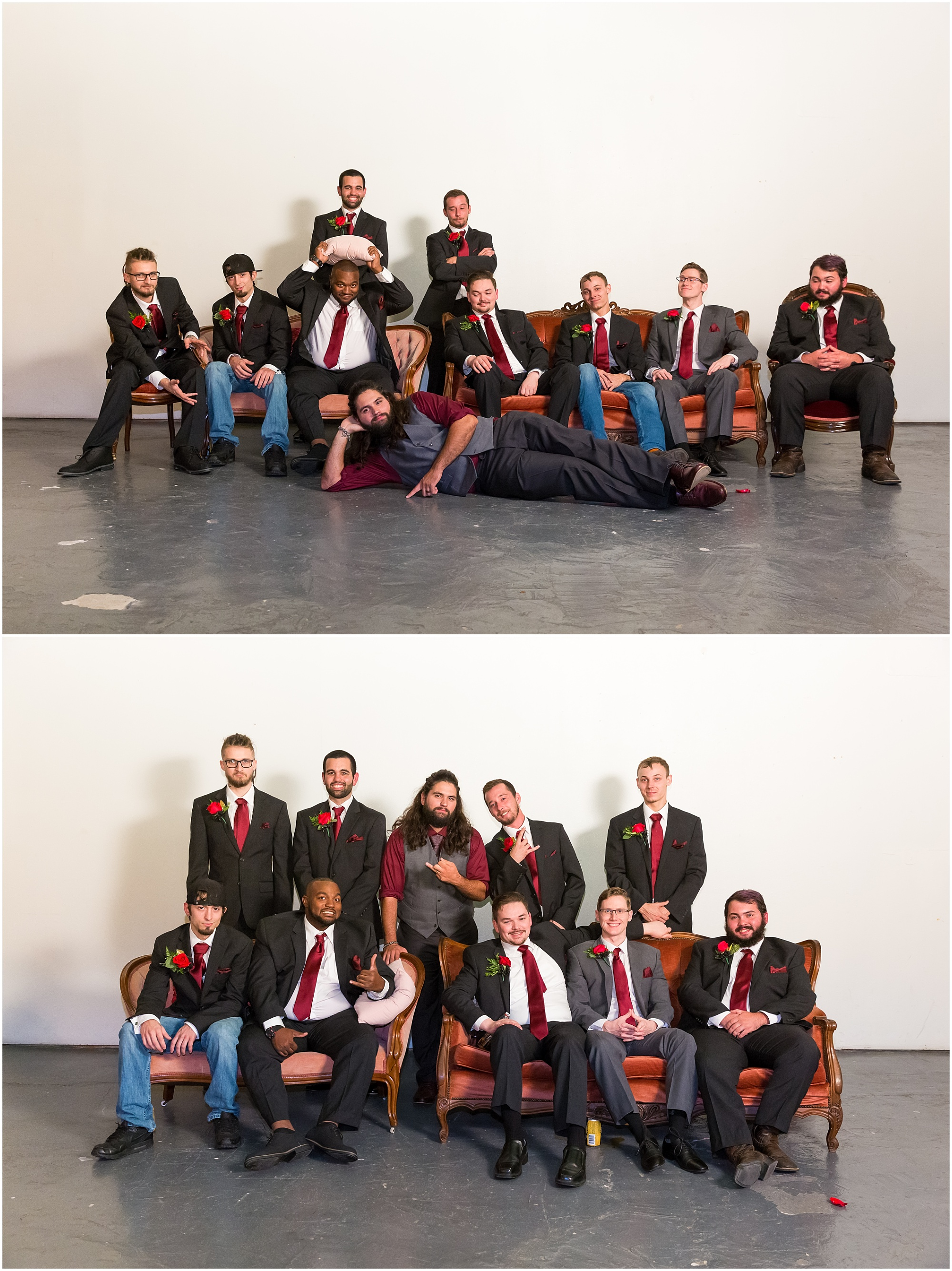 Groomsmen pose together in photo seating area - Jason & Melaina Photography - http://jasonandmelaina.com