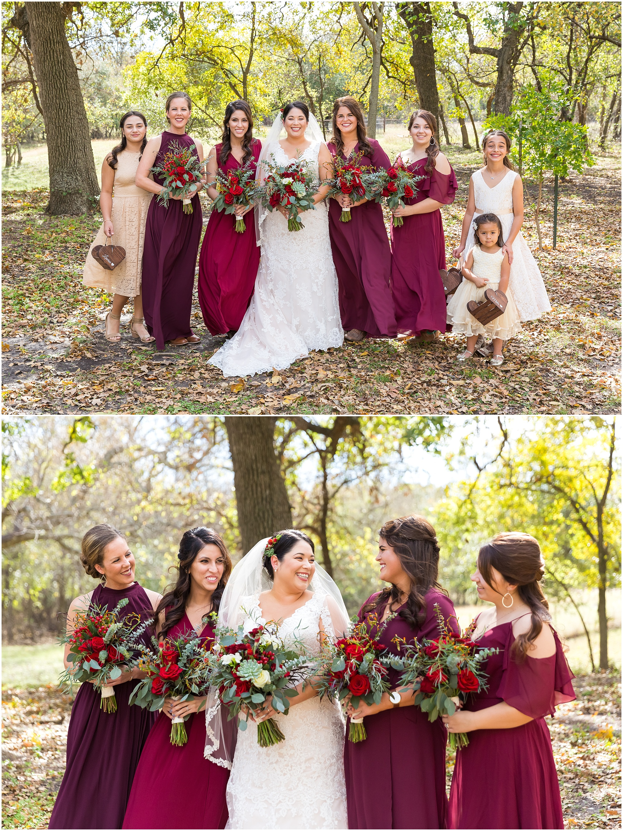 Bridal party in burgundy dresses - fall wedding at Dove Creek Ranch in Dublin, Texas - Jason & Melaina Photography - www.jasonandmelaina.com