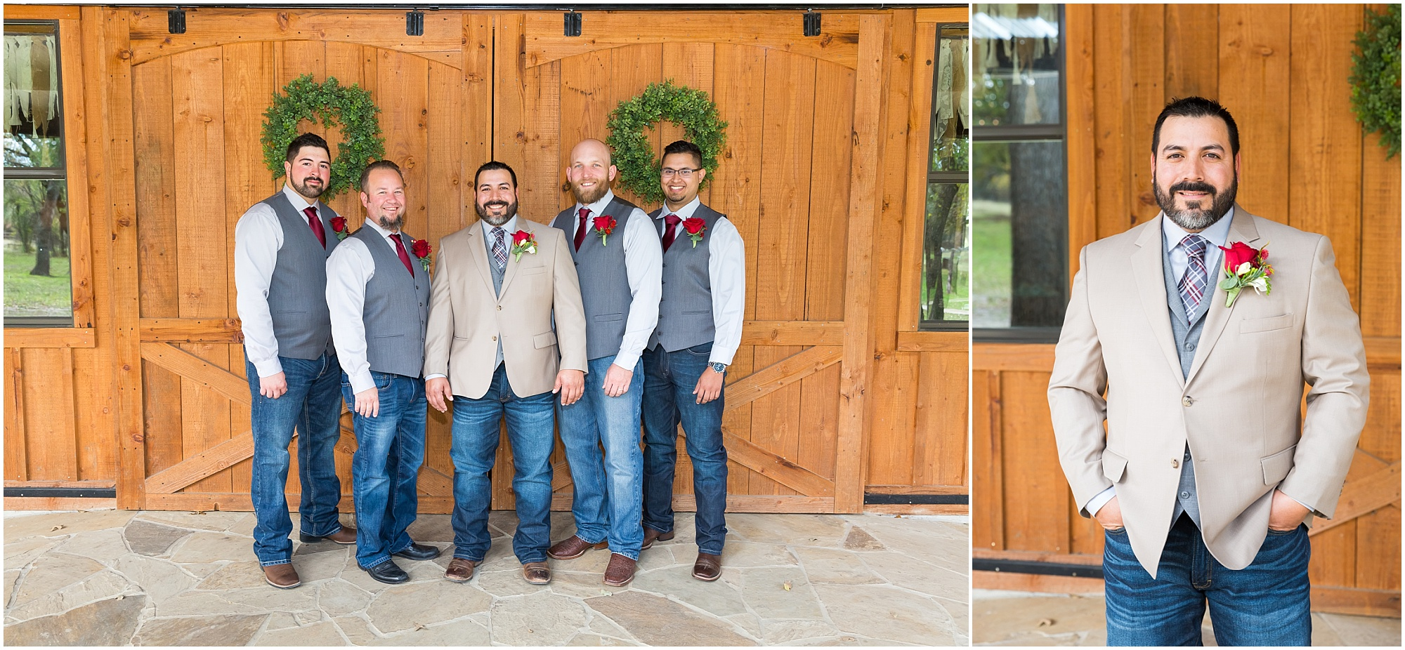 Groomsmen in gray vests, jeans and boots - Dove Creek Ranch in Dublin, Texas - Jason & Melaina Photography - www.jasonandmelaina.com