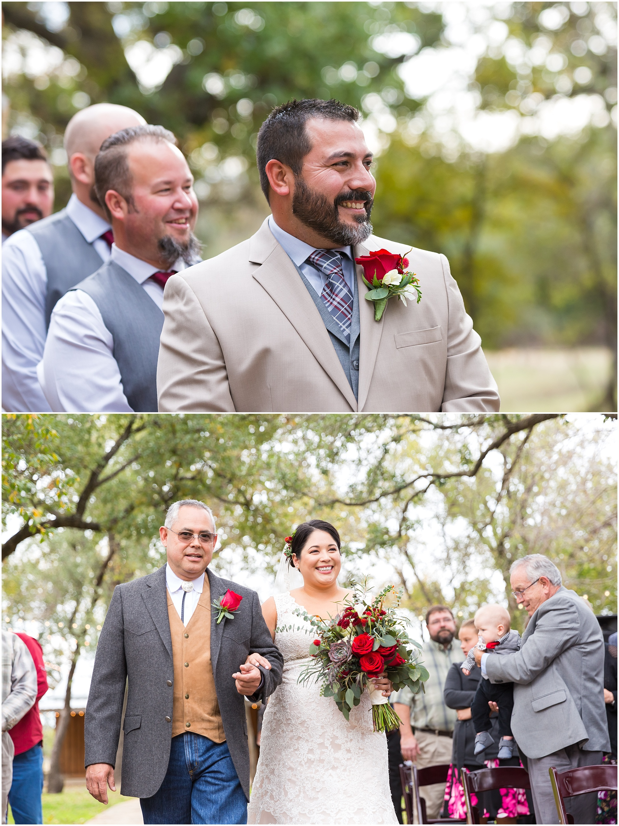 Groom smiles as his bride comes down the aisle - Dove Creek Ranch in Dublin, Texas - Jason & Melaina Photography - www.jasonandmelaina.com