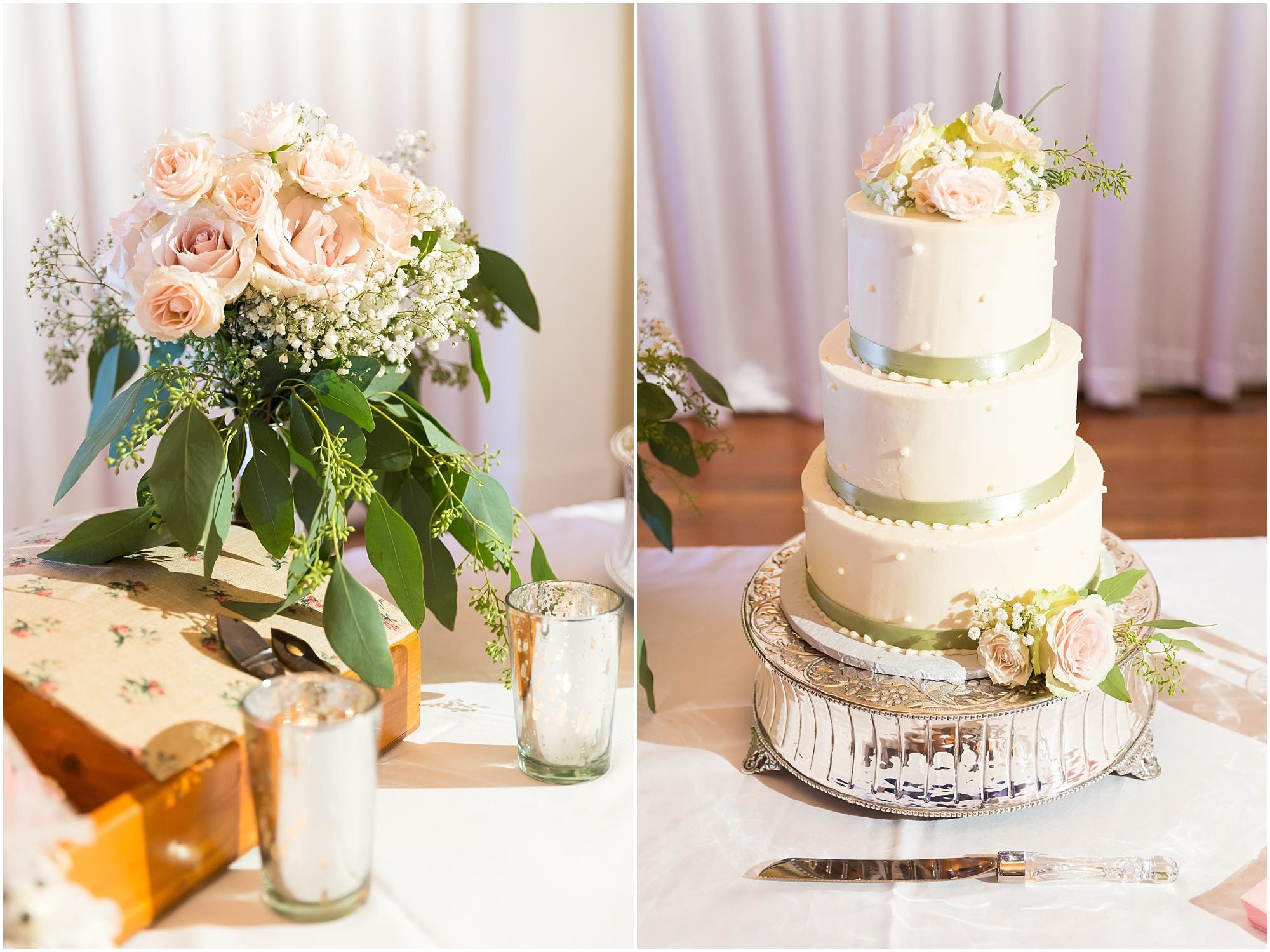 White buttercream wedding cake with pink roses - Jason & Melaina Photography - www.jasonandmelaina.com