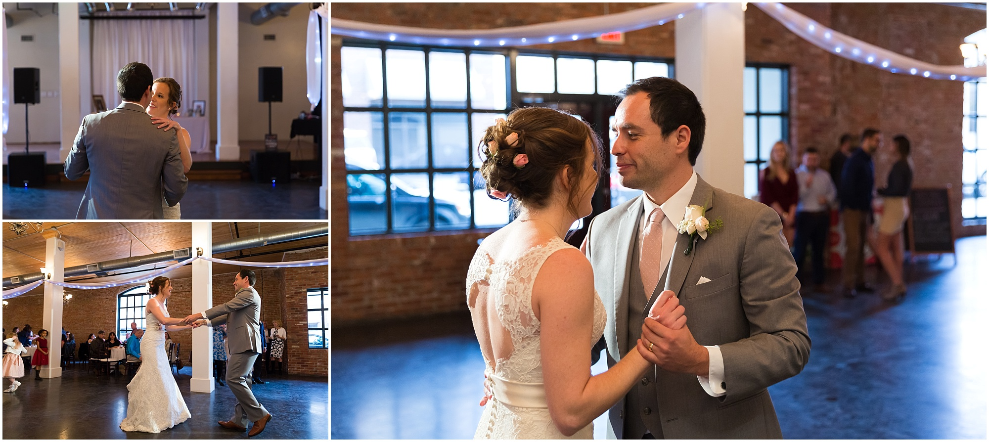 Bride and groom share a first dance at their downtown Waco reception at The Palladium - Jason & Melaina Photography - www.jasonandmelaina.com