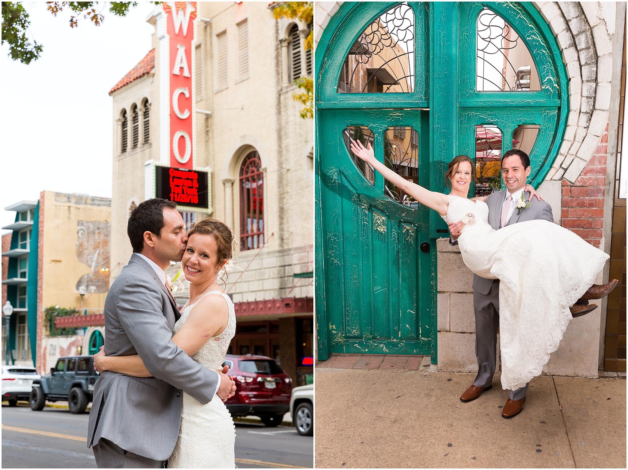 Bride and groom pose in front of The Hippodrome in Waco, Texas - Jason & Melaina Photography - www.jasonandmelaina.com