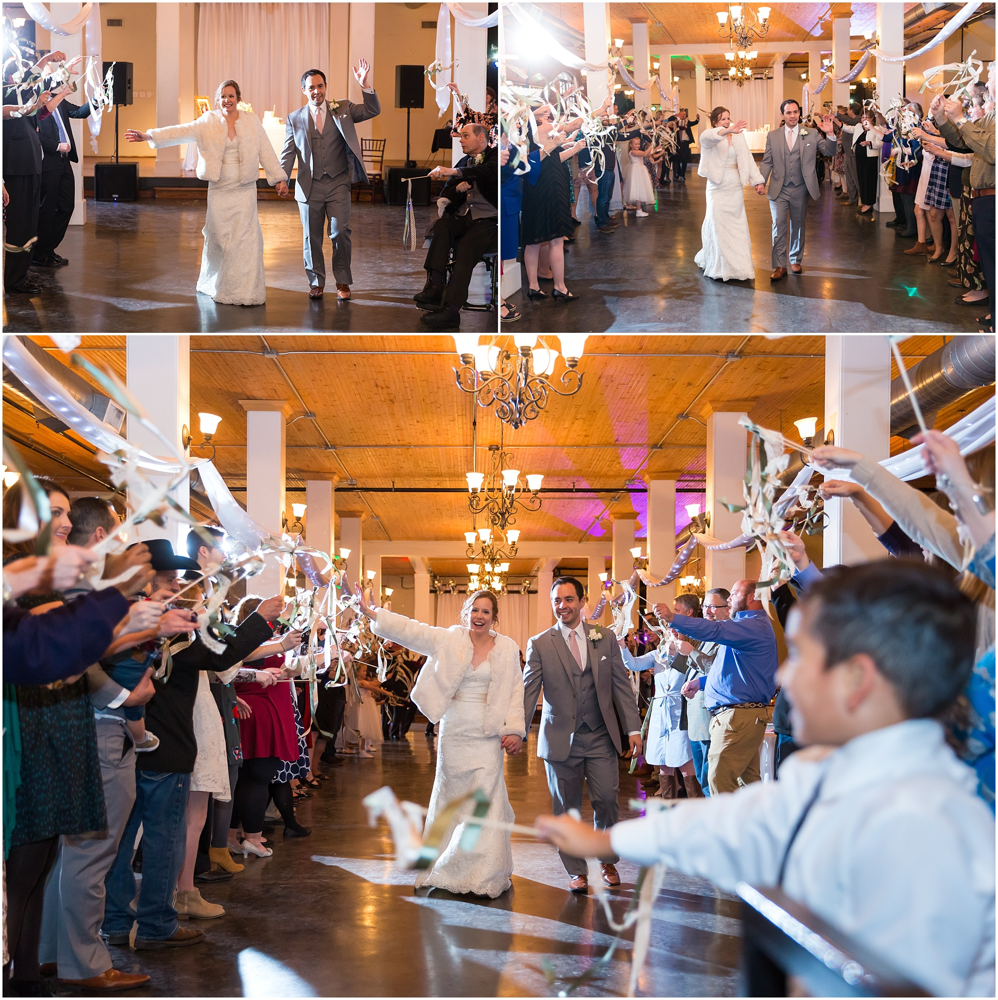 Bride and groom have ribbon exit out of The Palladium in Waco, Texas - Jason & Melaina Photography - www.jasonandmelaina.com