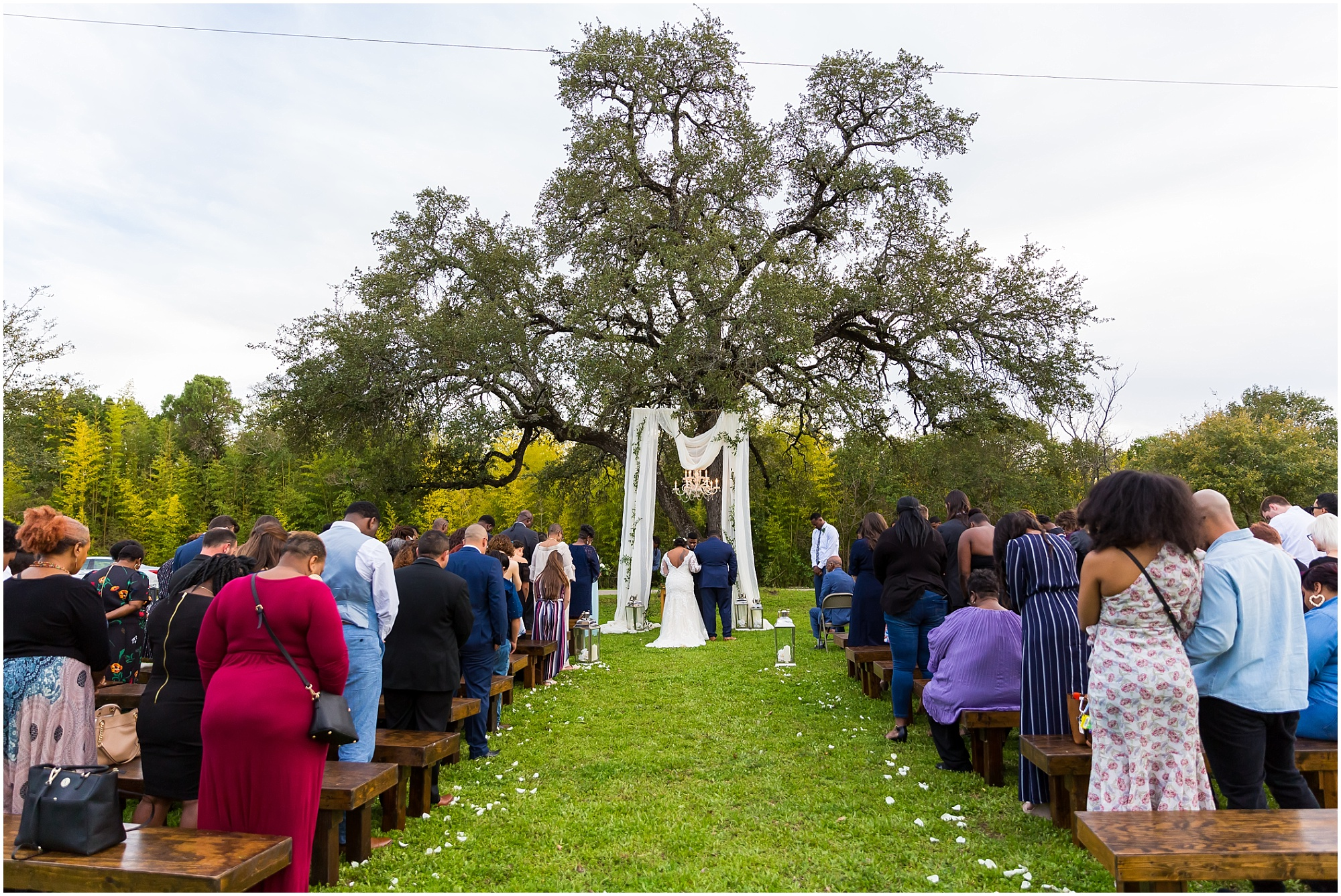 A bride and groom stand under a large oak tree during their wedding ceremony at Lover's Leap in Cameron Park, Waco, Texas - Jason & Melaina Photography - www.jasonandmelaina.com