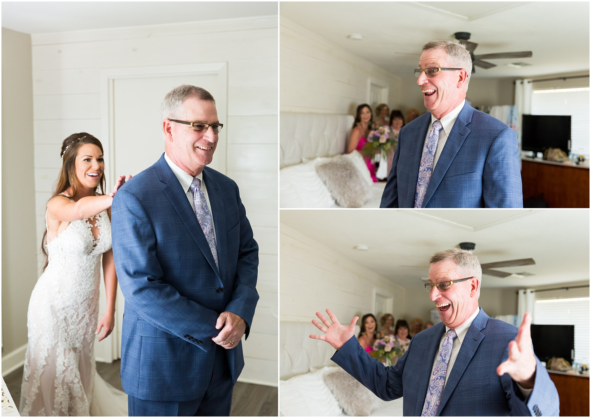 A bride taps her father's shoulder and he turns around to see her in her wedding dress for the first time | Jason & Melaina Photography | www.jasonandmelaina.com
