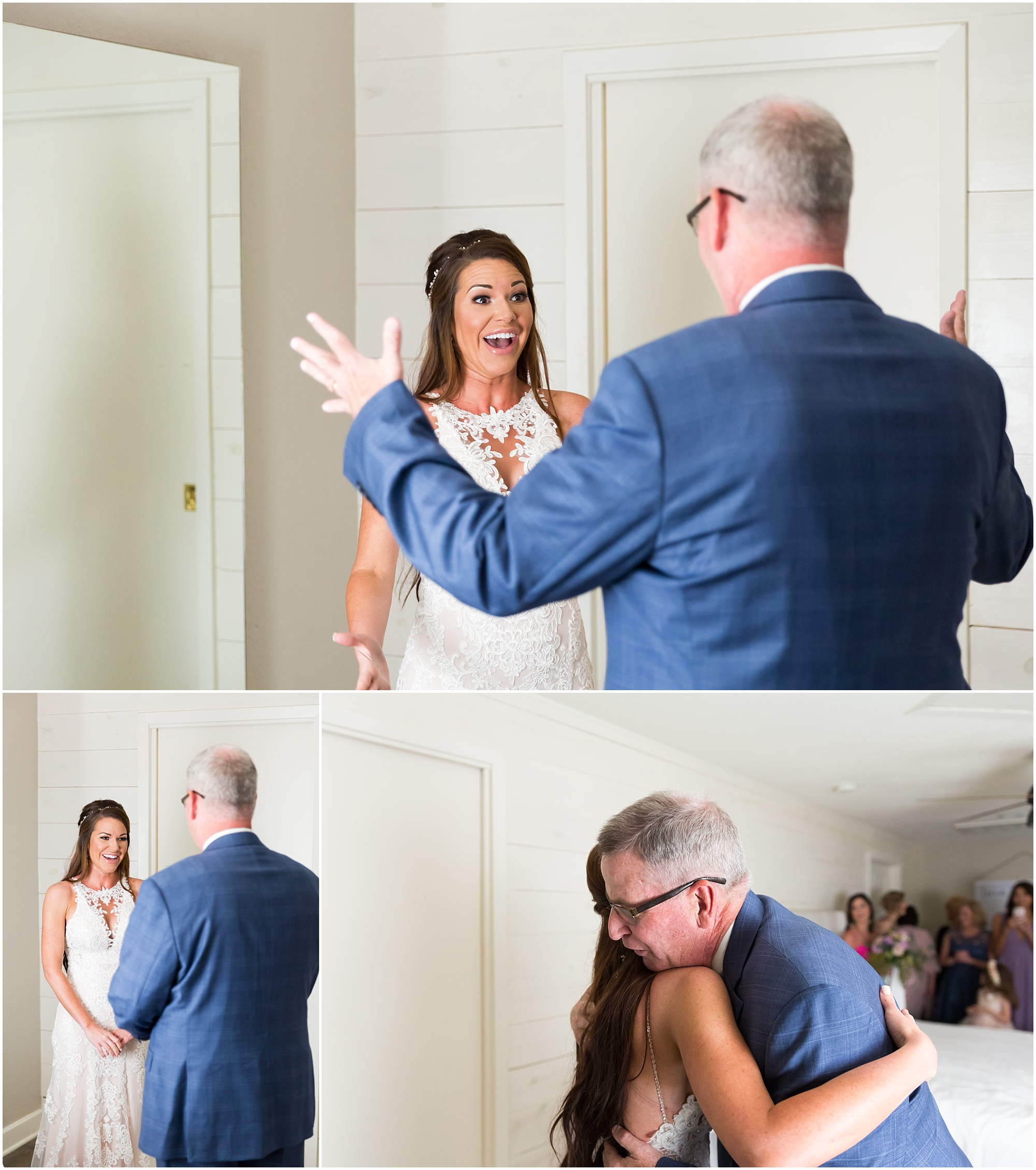 A bride hugs her father before her wedding ceremony at Gathering Oaks Retreat in Waco, Texas | Jason & Melaina Photography | www.jasonandmelaina.com