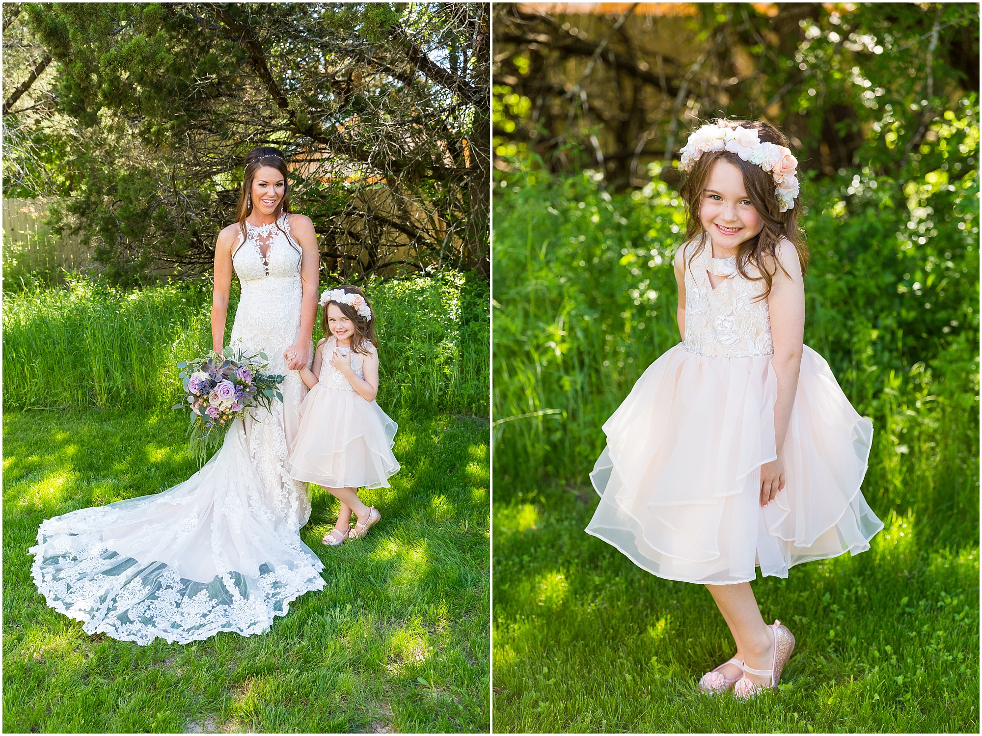 A bride poses with her flower girl daughter before her bohemian garden wedding ceremony in Waco, Texas | Jason & Melaina Photography | www.jasonandmelaina.com