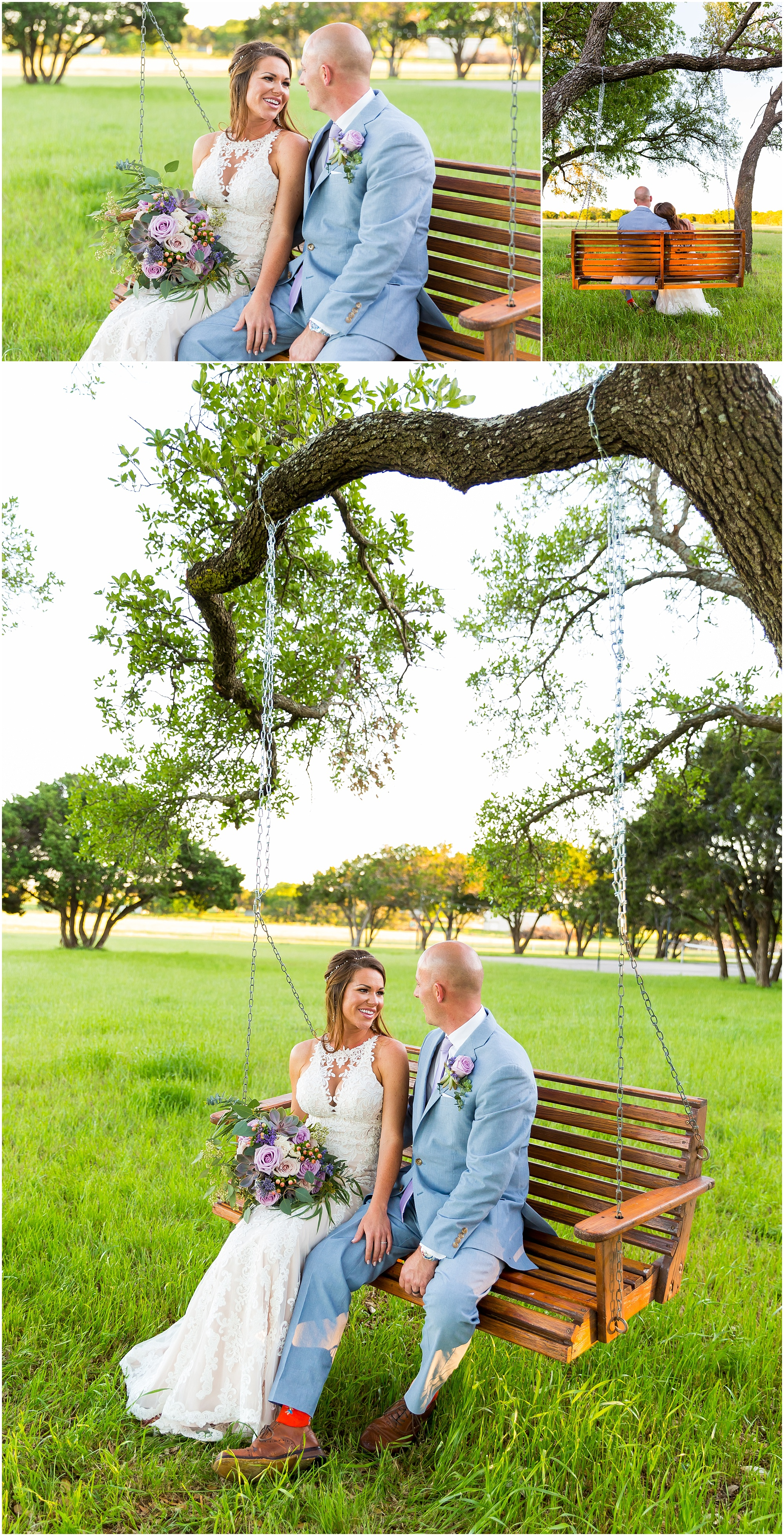 A bride and groom swing on a tree swing in a field on their wedding day at Gathering Oaks Retreat in Crawford, Texas | Jason & Melaina Photography | www.jasonandmelaina.com