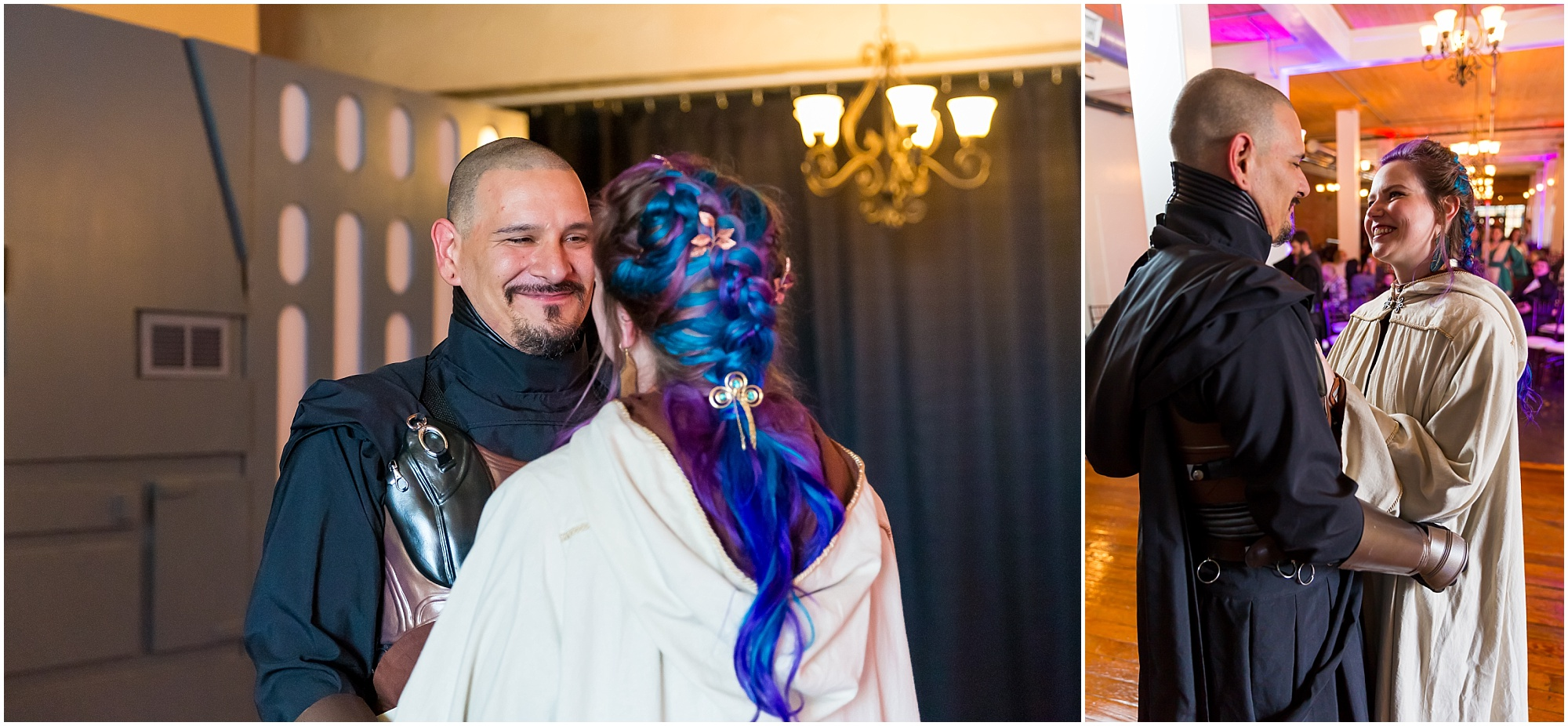 A bride and groom, dressed as Star Wars characters, see each other for the first time before their ceremony - Star Wars Wedding in downtown Waco, Texas - Jason & Melaina Photography