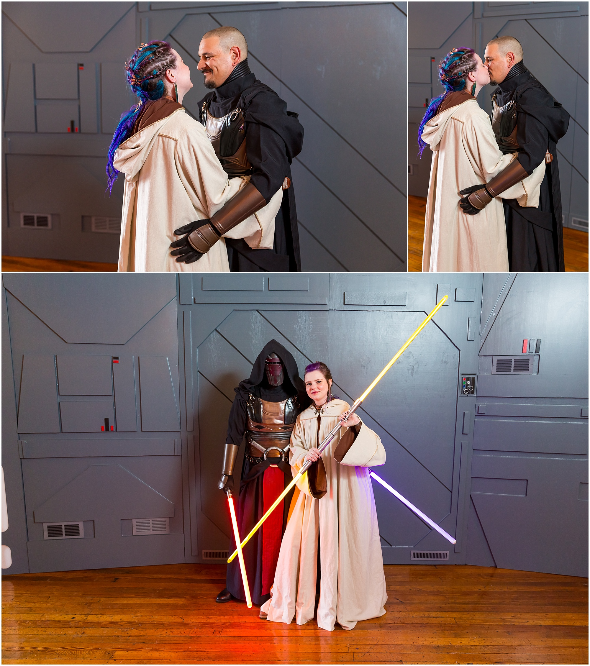 A Jedi Knight bride and her Sith Lord groom pose in front of the blast doors at their Star Wars wedding in Waco, Texas - Jason & Melaina Photography - www.jasonandmelaina.com