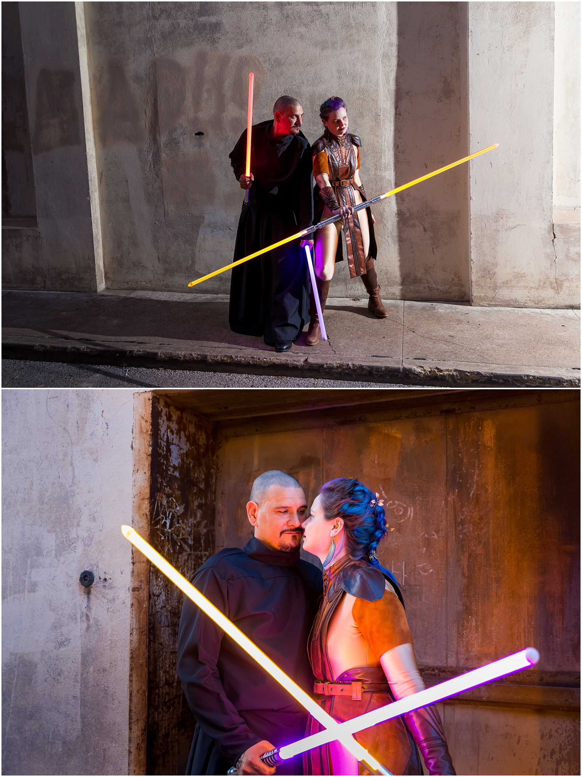 A bride, dressed as a Jedi Knight, and her groom, dressed as a Sith Lord, pose together in downtown Waco on their May 4th wedding day - Jason & Melaina Photography - www.jasonandmelaina.com