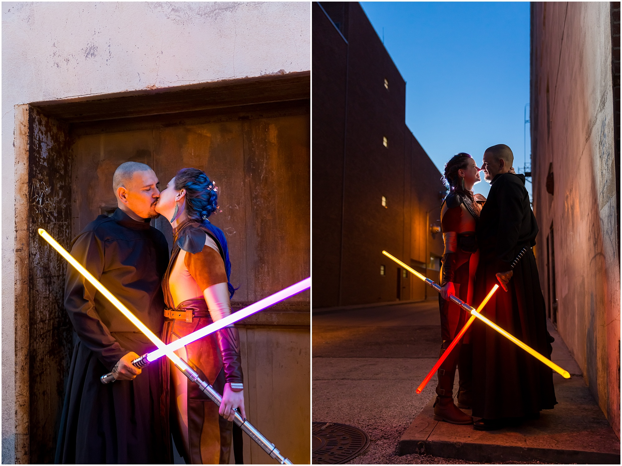 A couple poses in a downtown Waco alley with their lightsabers on their May 4th Star Wars wedding - Jason & Melaina Photography - www.jasonandmelaina.com