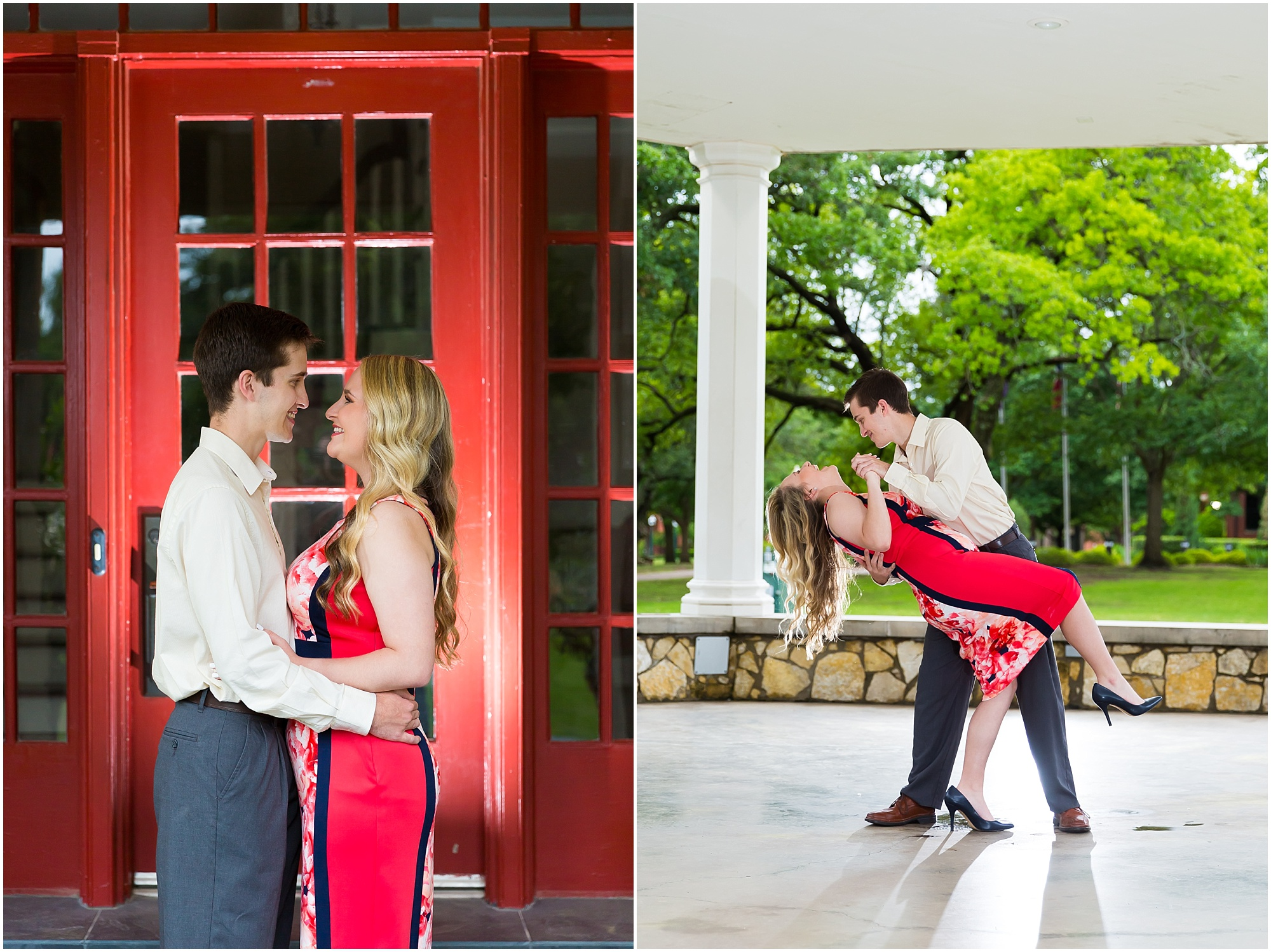 A couple dances in the gazebo at Tarleton State University during their engagement session - Jason & Melaina Photography - www.jasonandmelaina.com