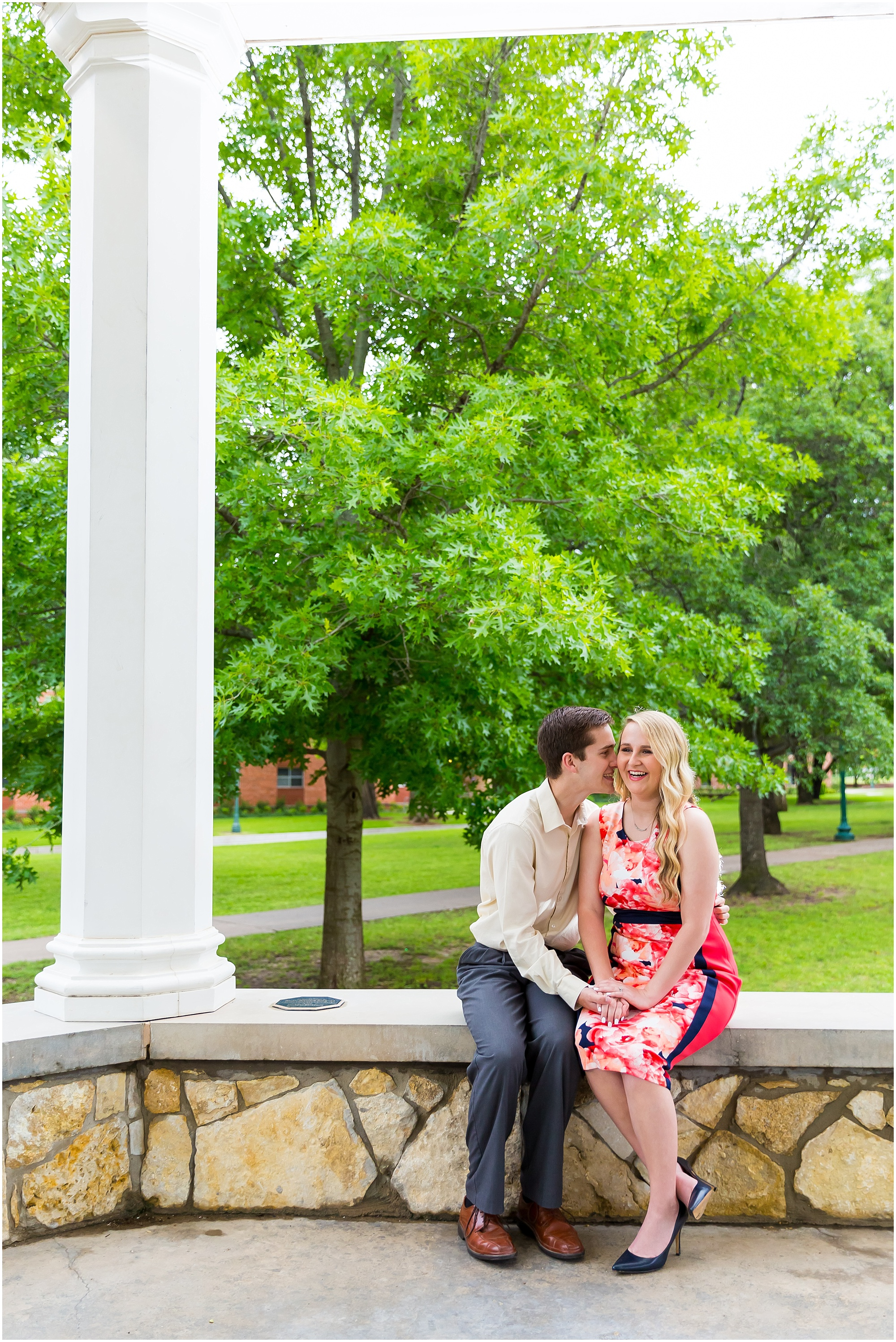 A man whispers into his fiance's ear and she laughs during their engagement session - Tarleton State University - - Jason & Melaina Photography - www.jasonandmelaina.com