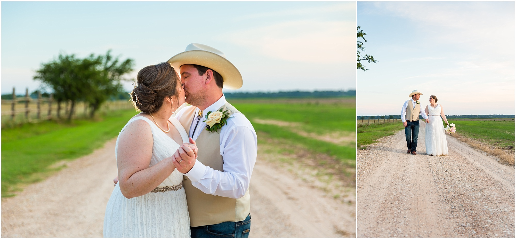 A groom kisses his bride outside their wedding reception at Moon River Ranch | Jason & Melaina Photography | www.jasonandmelaina.com