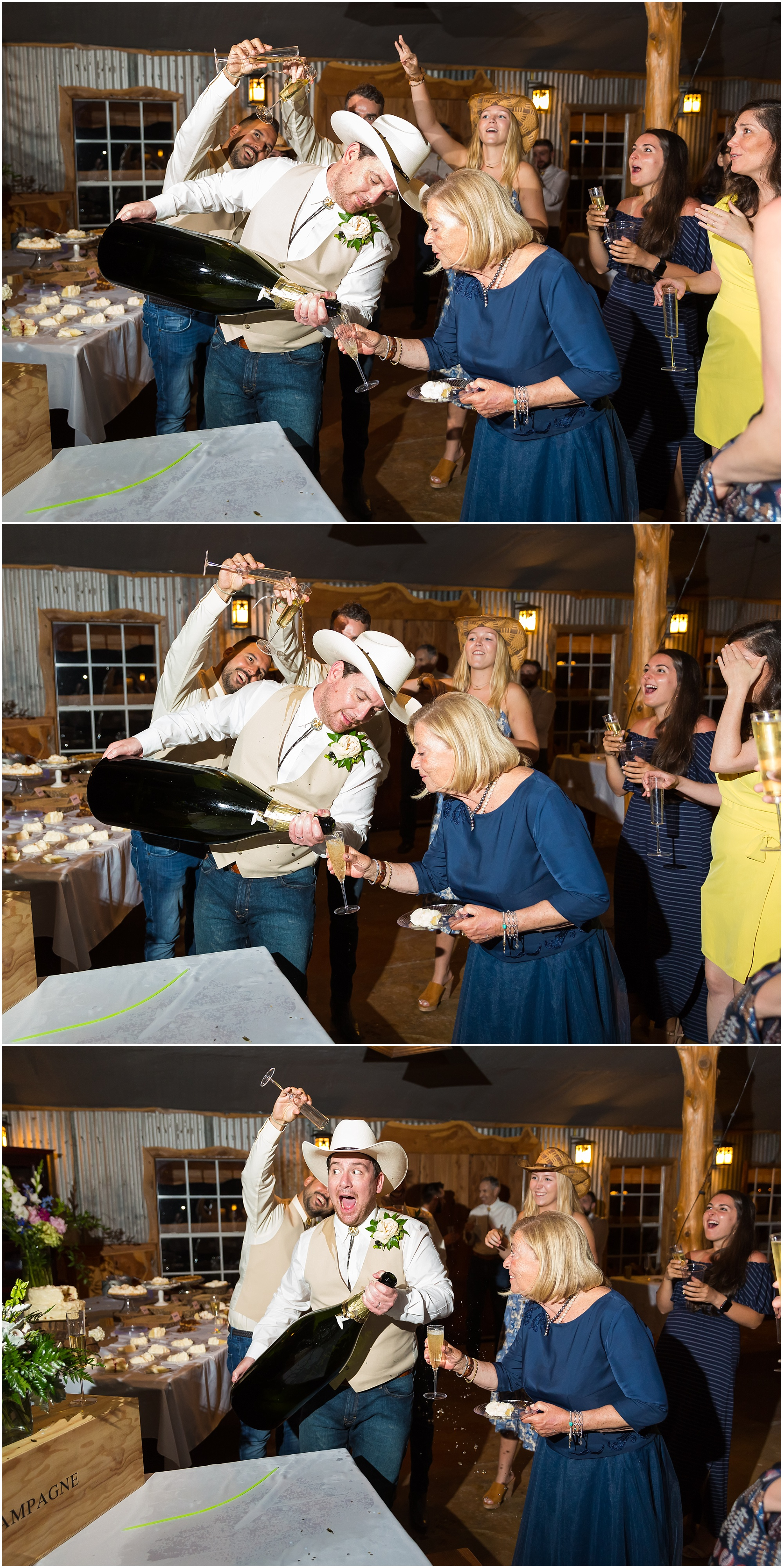 Groomsmen pour champagne on an unsuspecting groom during a wedding reception at Moon River Ranch | Jason & Melaina Photography | www.jasonandmelaina.com