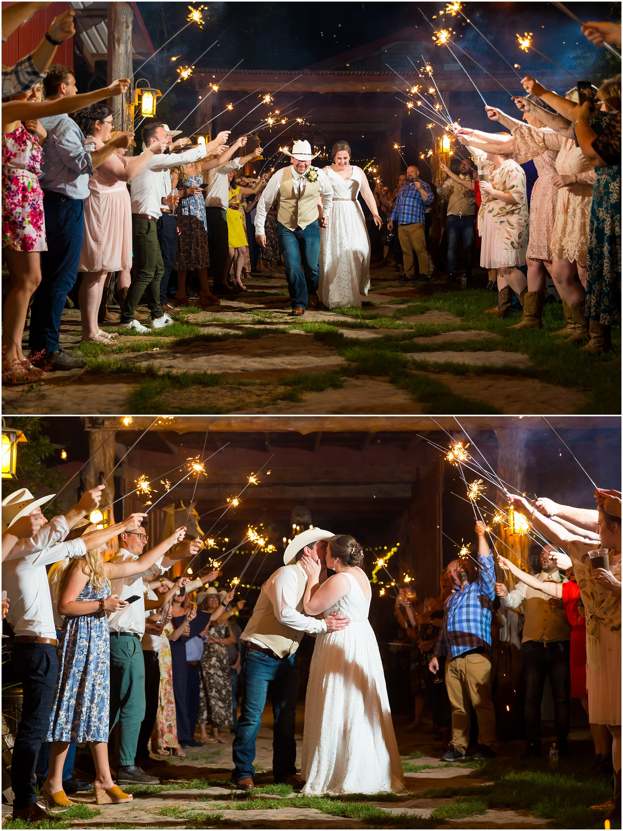 A bride kisses her husband under the glow of sparklers as they leave their wedding reception at Moon River Ranch | Jason & Melaina Photography | www.jasonandmelaina.com