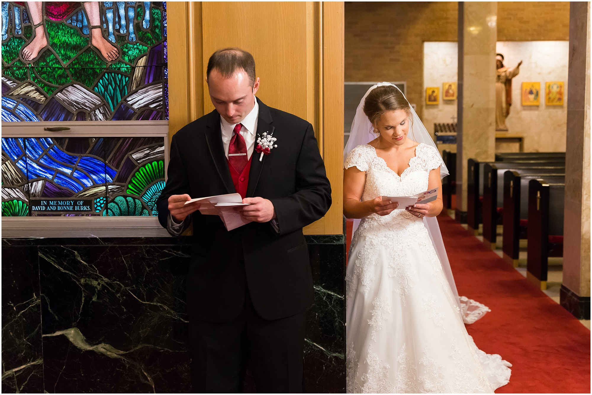 A bride and groom read the letters they wrote to one another before their wedding ceremony - Jason & Melaina Photography - www.jasonandmelaina.com