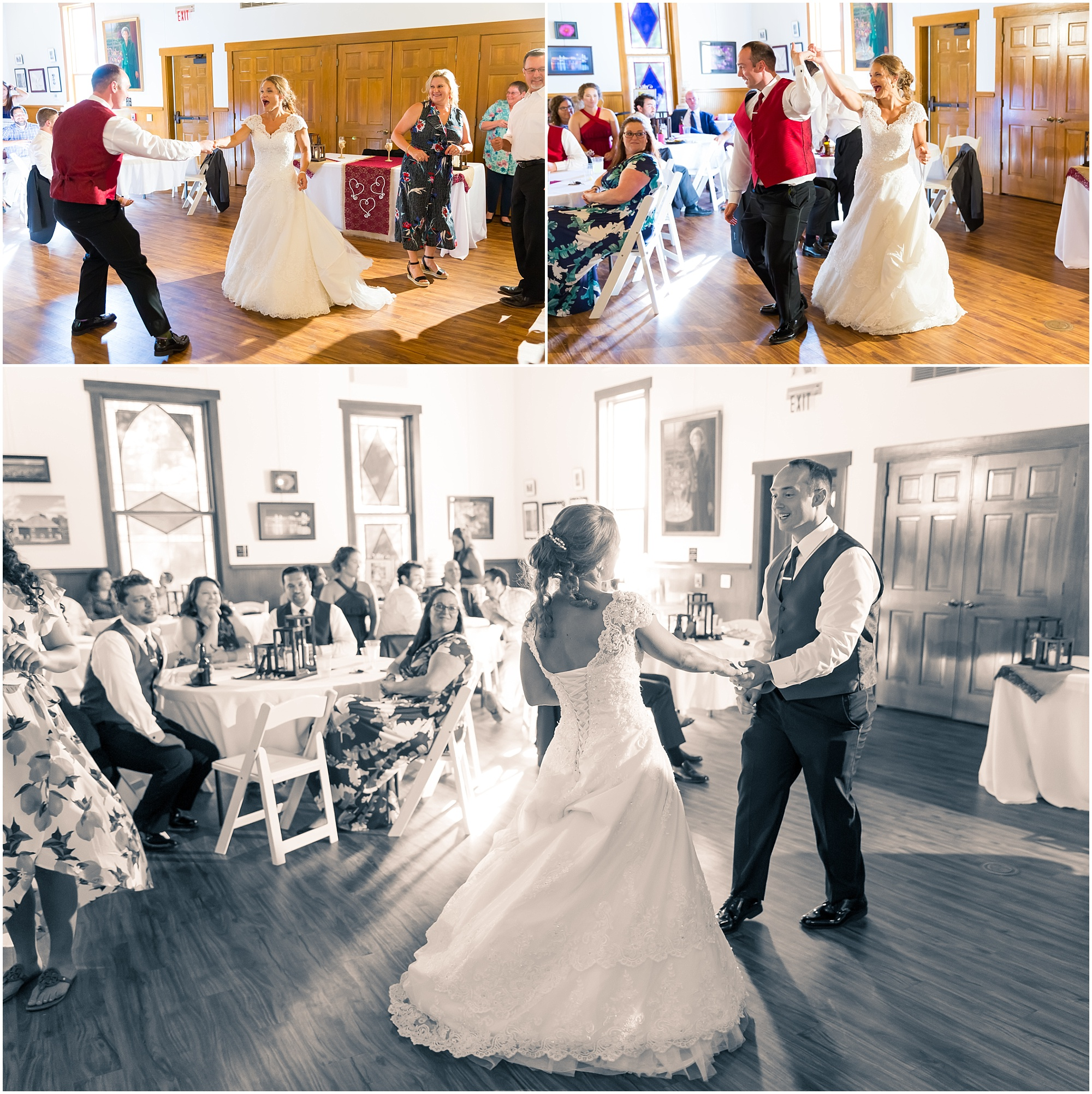 A bride and groom swing dance during their wedding reception in Waco, Texas - Jason & Melaina Photography - www.jasonandmelaina.com