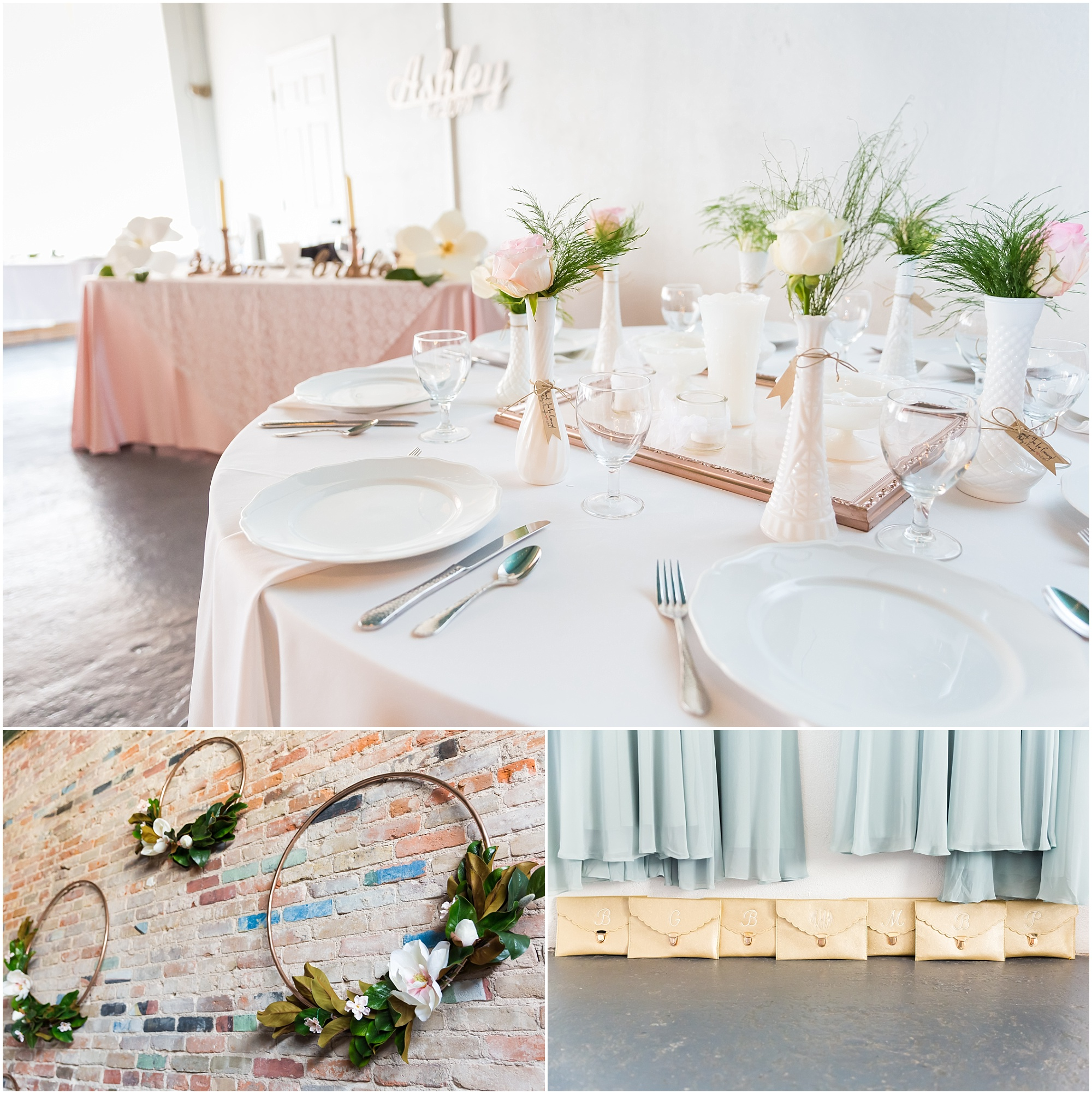 Blush linens with white and rose gold plates and centerpieces for reception seating, Gold circles adorned with magnolia blossoms and leaves hanging on a brick wall, and monogram gold clutches as part of the wedding details - Jason & Melaina Photography - www.jasonandmelaina.com