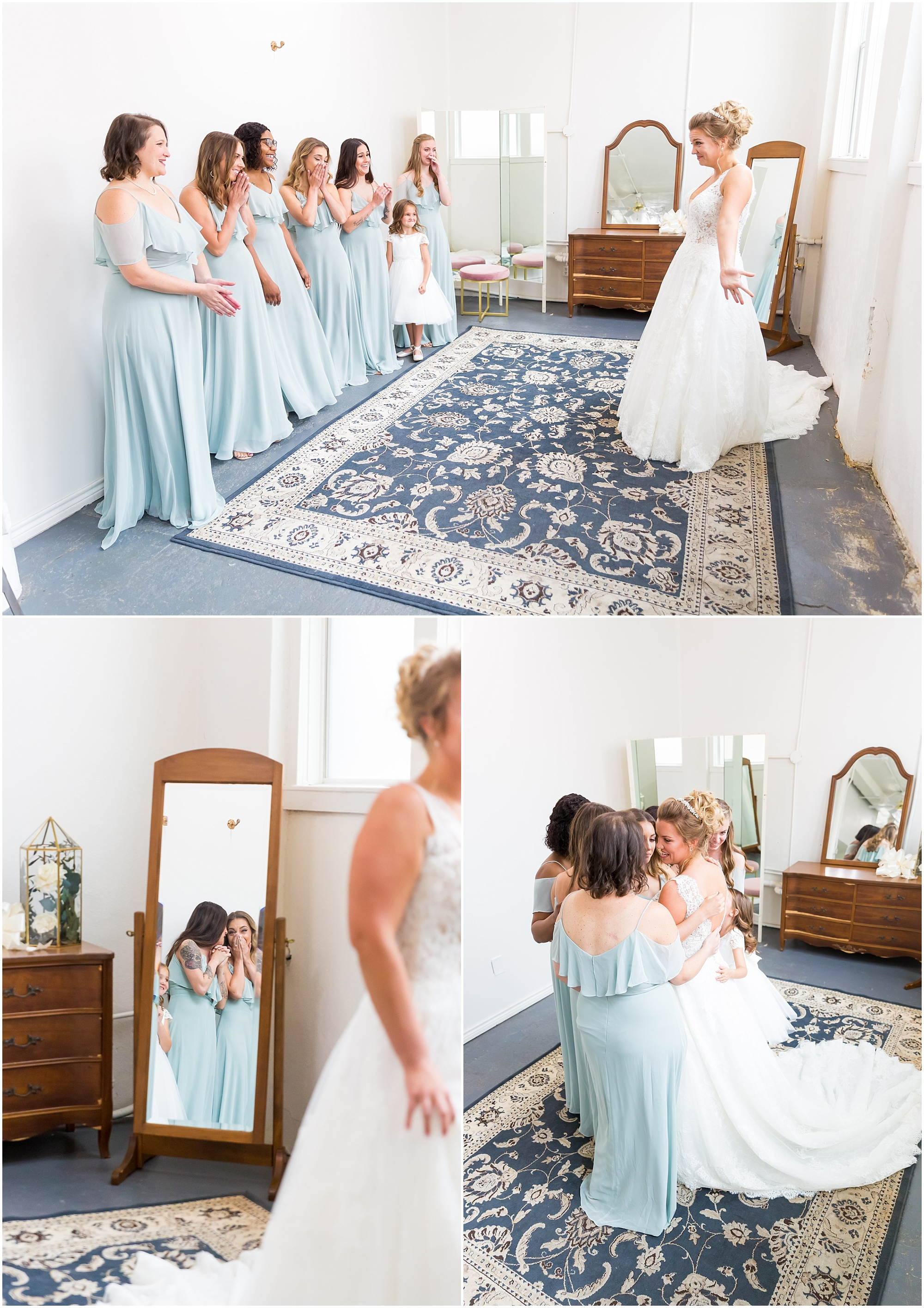 Bridesmaids react with squeals, gasps and tears when they see the bride in her dress for the first time in the bridal suite at The Eagle Historic Warehouse - Jason & Melaina Photography - www.jasonandmelaina.com