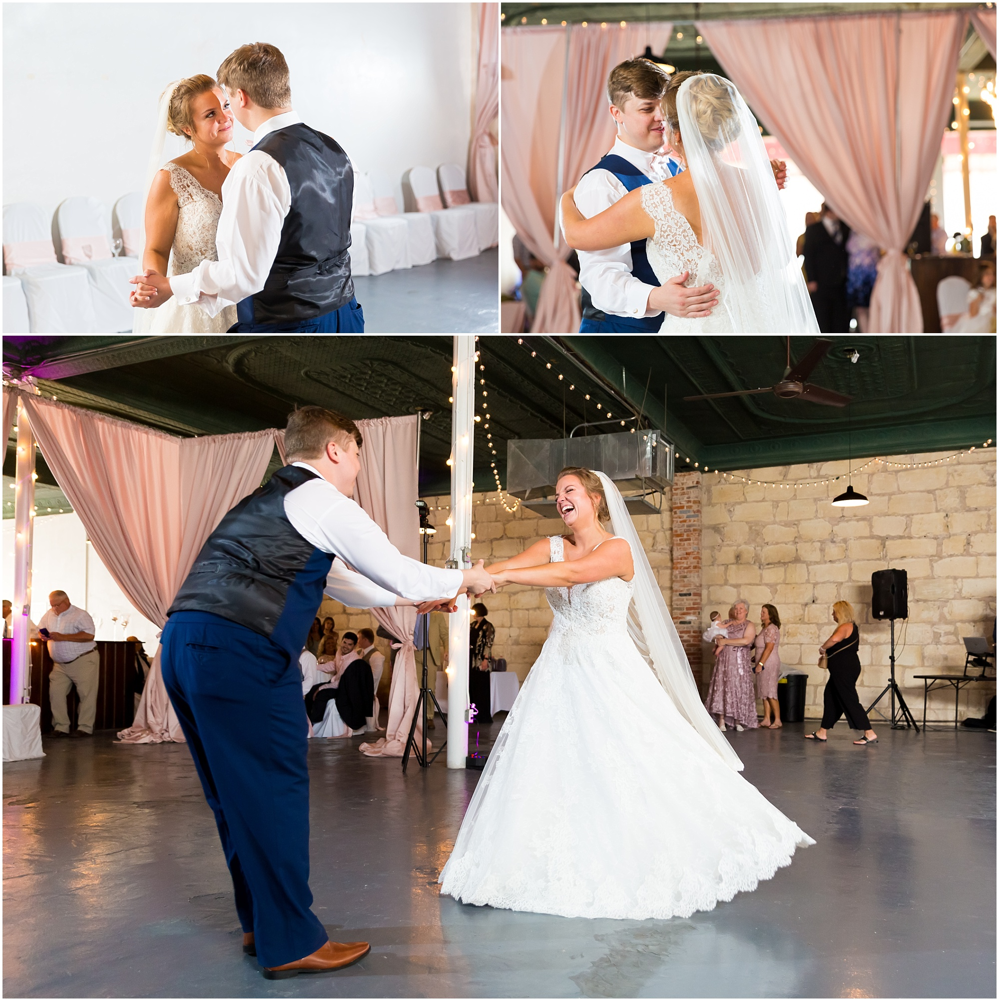 A bride and groom laugh during their first dance at their wedding reception at The Eagle Historic Warehouse in Hillsboro, Texas - Jason & Melaina Photography - www.jasonandmelaina.com