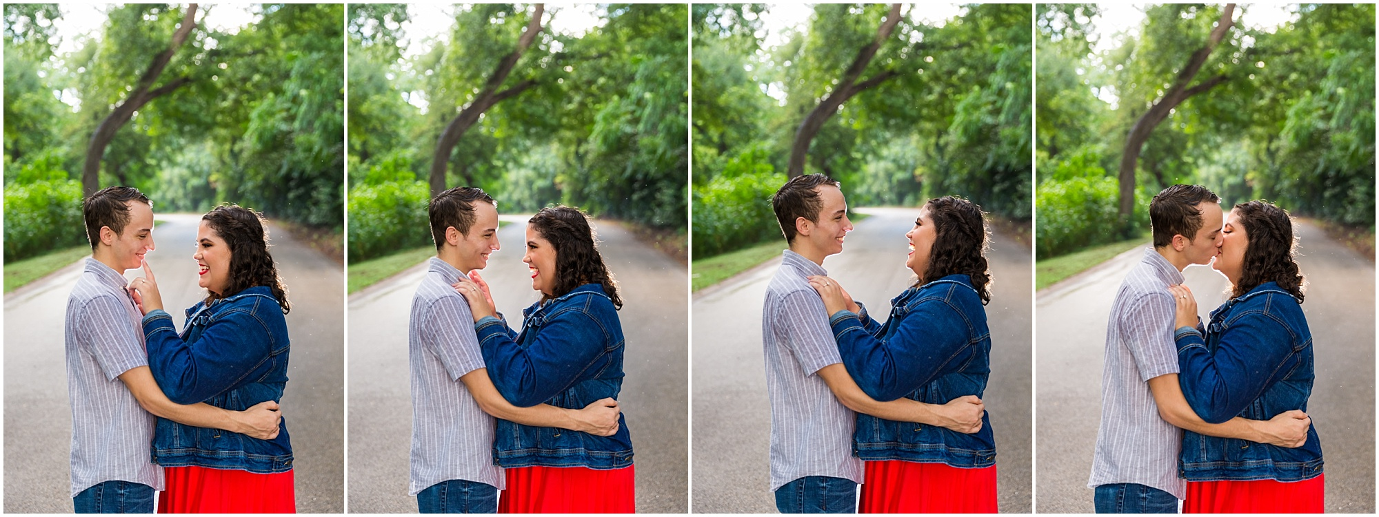 A bride-to-be laughs with her fiance as they are standing in the rain during their engagement photos in Cameron Park - Jason & Melaina Photography - www.jasonandmelaina.com