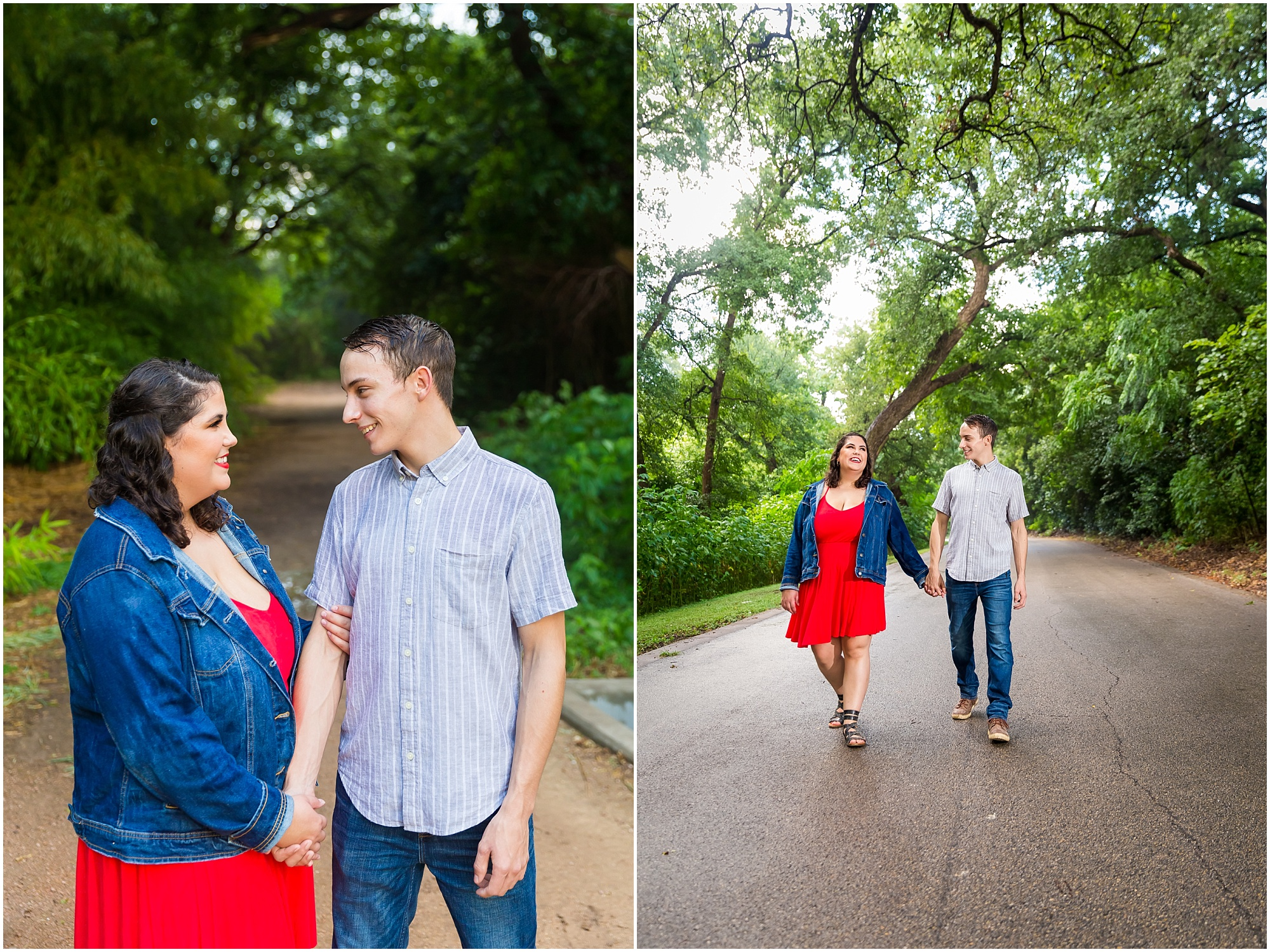 A couple walk hand-in-hand down a rain-soaked road during their engagement session in Cameron Park - Jason & Melaina Photography - www.jasonandmelaina.com