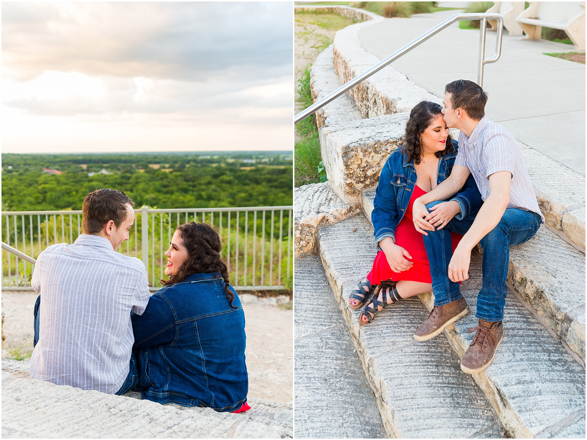 A man kisses his fiance's head as they sit on stone steps together in Cameron Park - Jason & Melaina Photography - www.jasonandmelaina.com