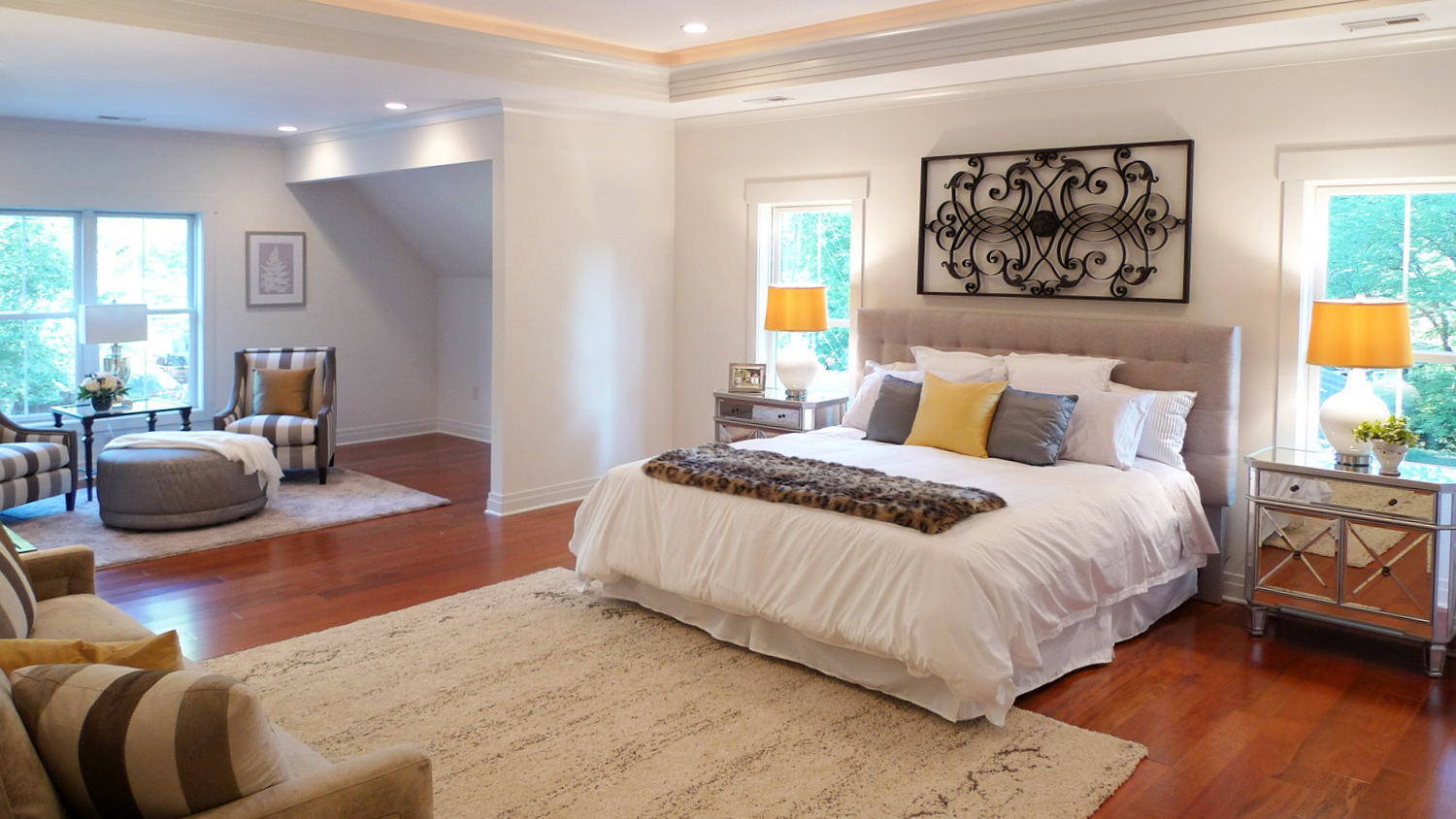 Great Falls Virginia master bedroom staged and sold