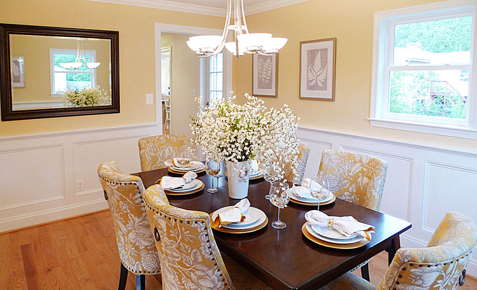 Washington DC home staging of a dining room