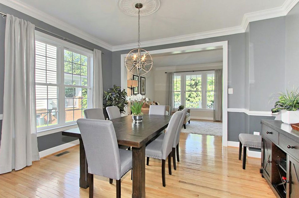 Potomac Maryland gray dining room staged with complimentary furnishings