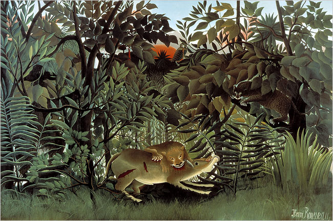 Painting by Henri Rousseau | The Hungry Lion Throws Itself on the Antelope | 1905
